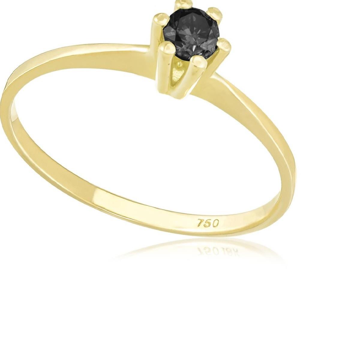 d4d9cd336 Anel Solitário Diamante Negro Ouro 18K no Elo7 | Vera Batalha (ED4B7E)