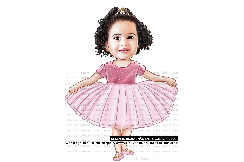 2c6ee9afb3deb2 Lindinha Caricatura Digital de Crianca Delicada Menina | Elo7