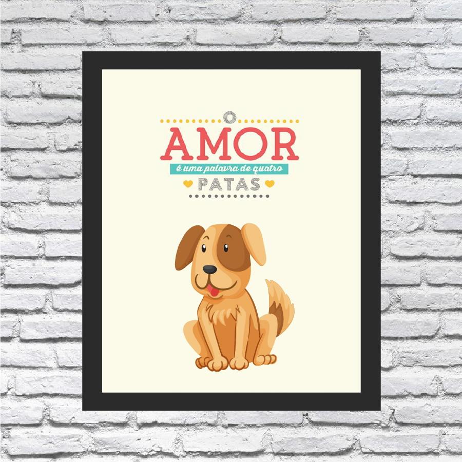 Quadro Decorativo Frase Cachorro E Amor
