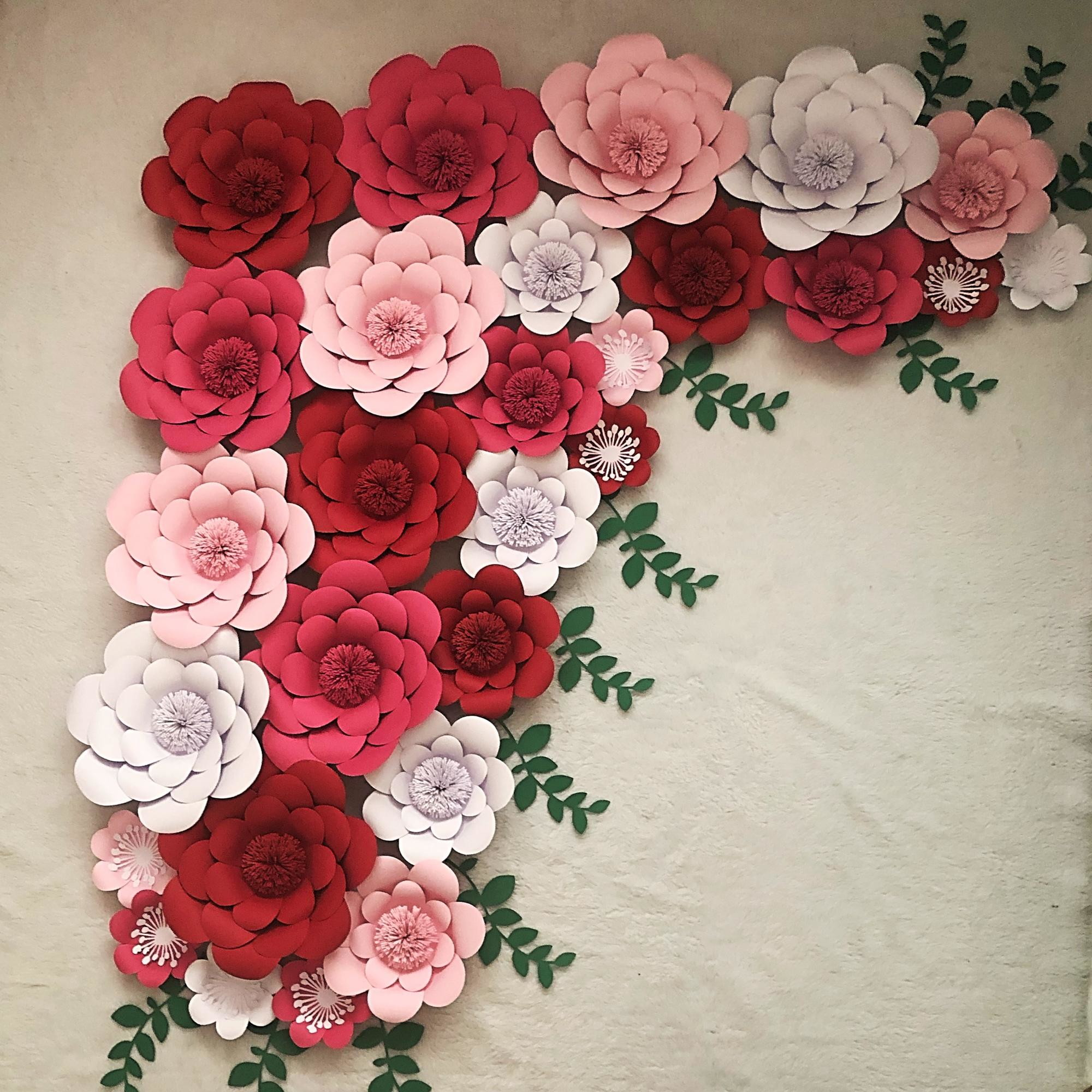 Painel gigante de flores de papel no Elo10   Loucas por papel EE10A