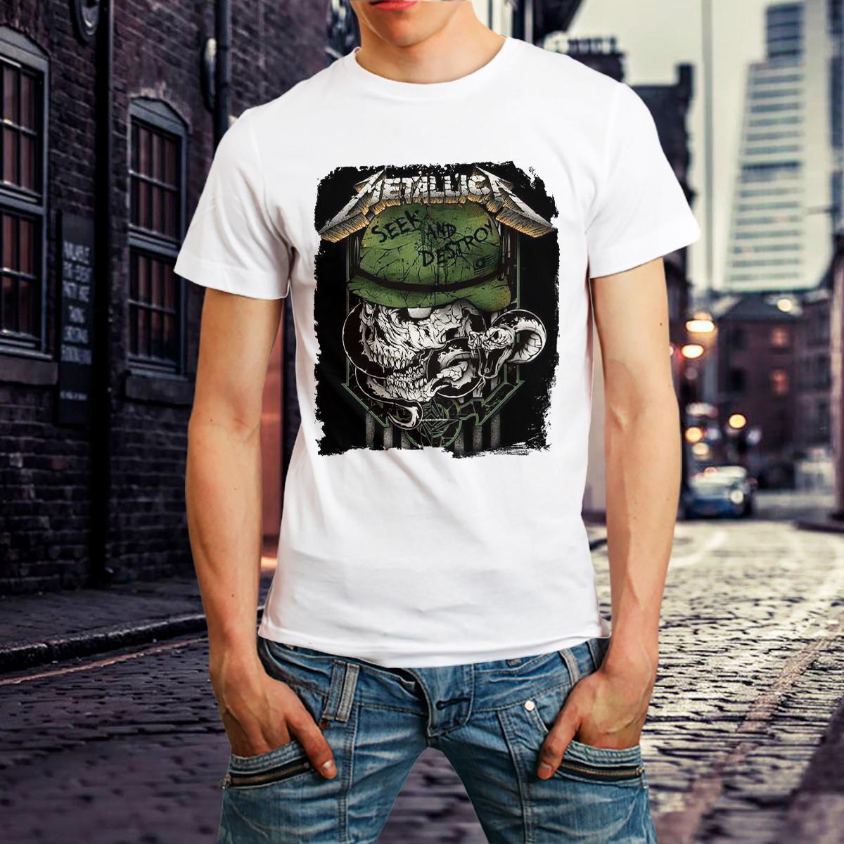 cebf8a46e7a Camiseta Metallica Seek Destroy - Bandas De Rock Camisa Rock no Elo7 ...
