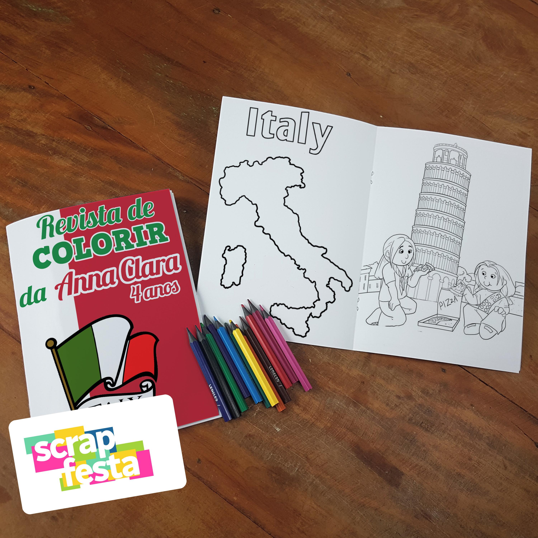 Revista Colorir Lapis De Cor Festa Italia No Elo7 Scrap Festa