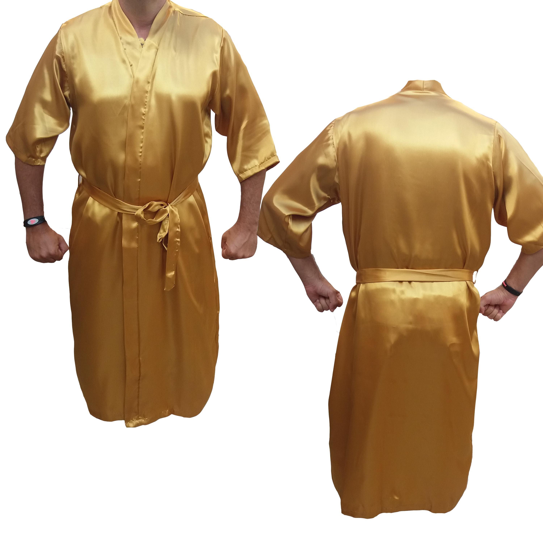 e4242ca9b385f4 Robe Cetim Roupão Masculino Manga3/4 Noivo Casamento Dourado