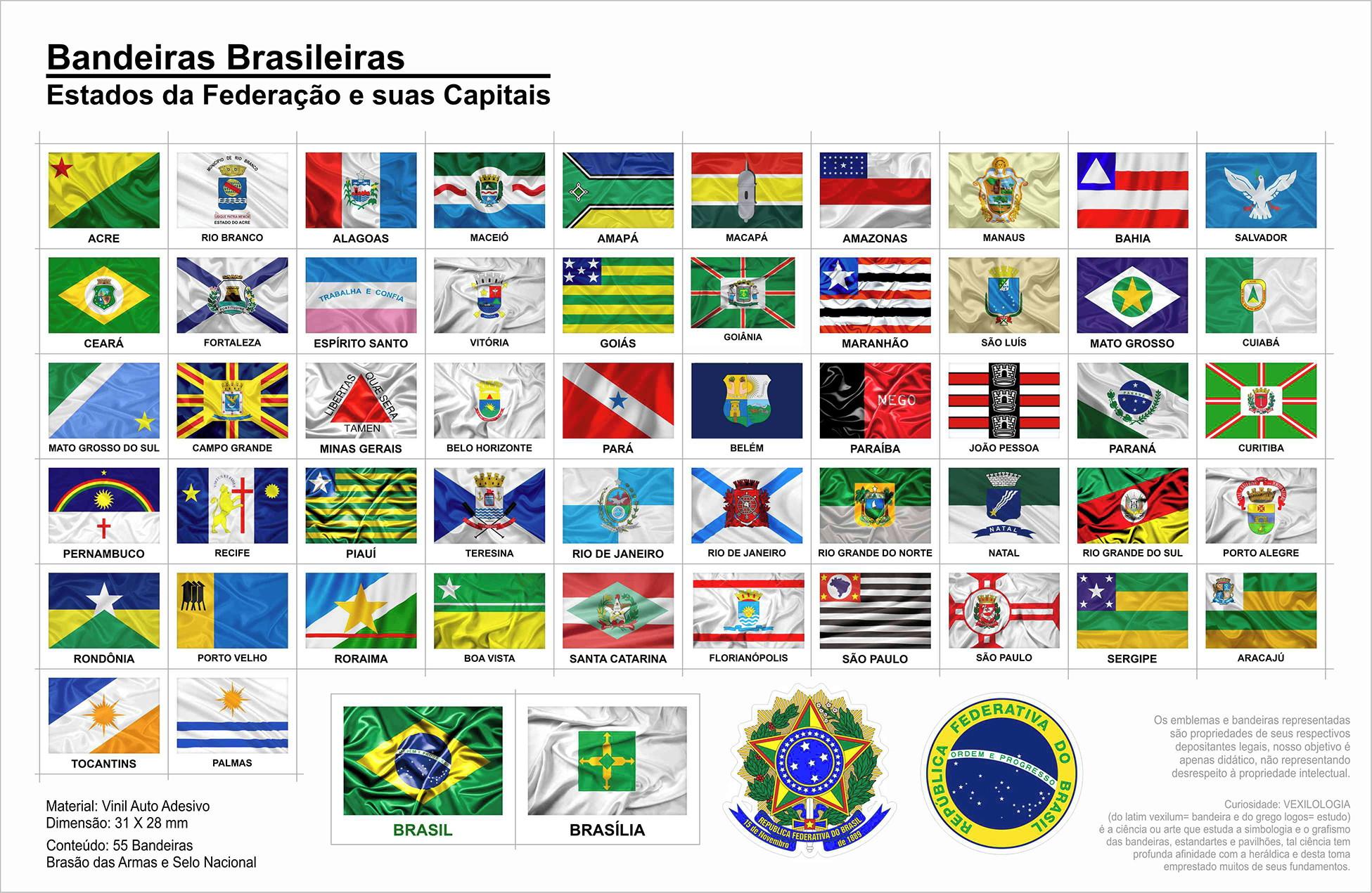 A Primeira Bandeira Do Brasil Republica bandeiras adesivas do brasil e df brasília 7,5 x 10 cm