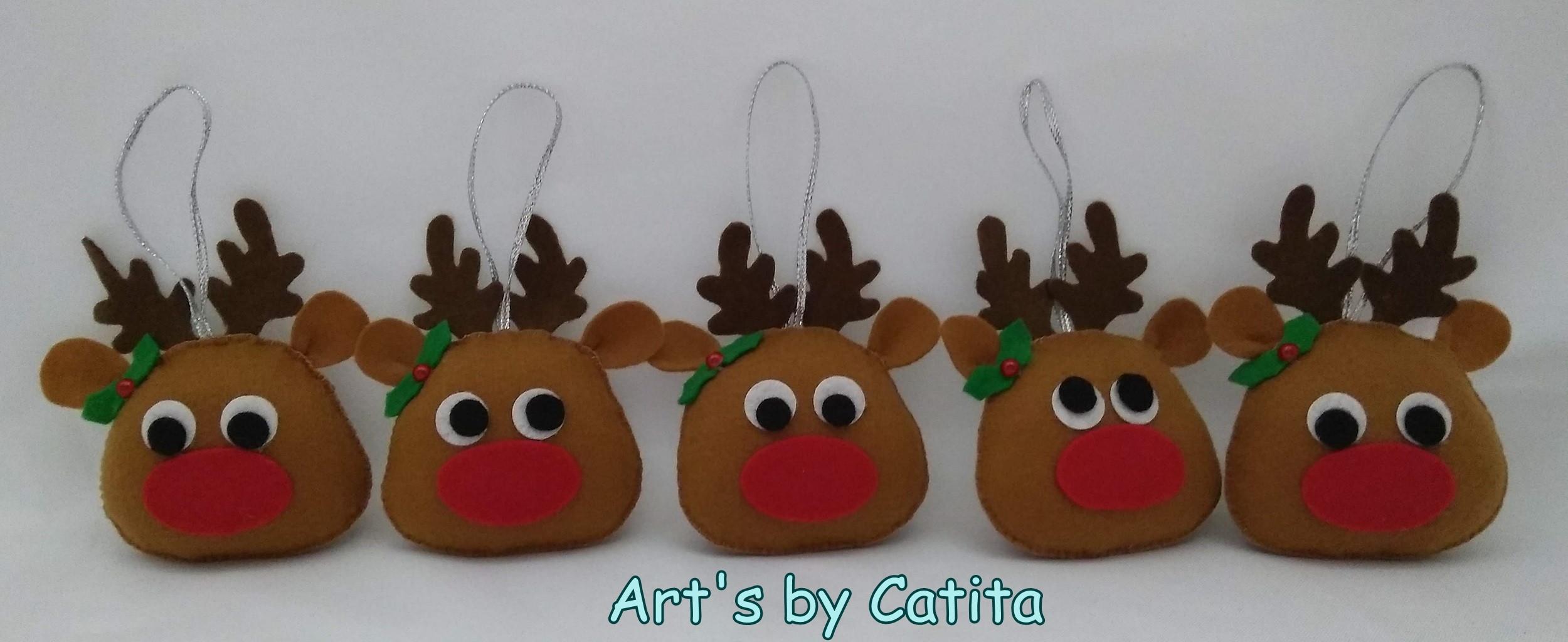 A Rena Mais Famosa Do Papai Noel kit 5 renas - enfeites de natal