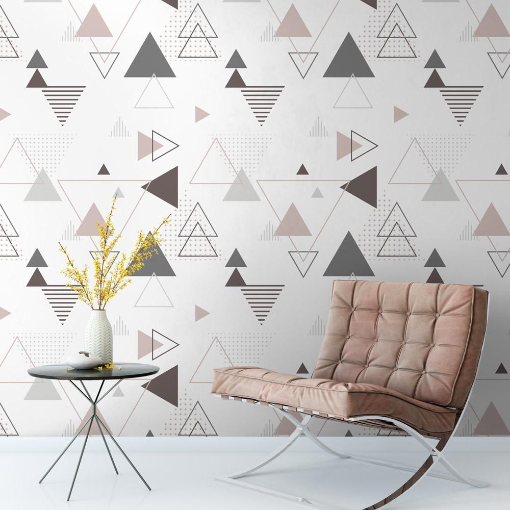 Papel De Parede Triangulos Geometrico Cinza Marrom E Br