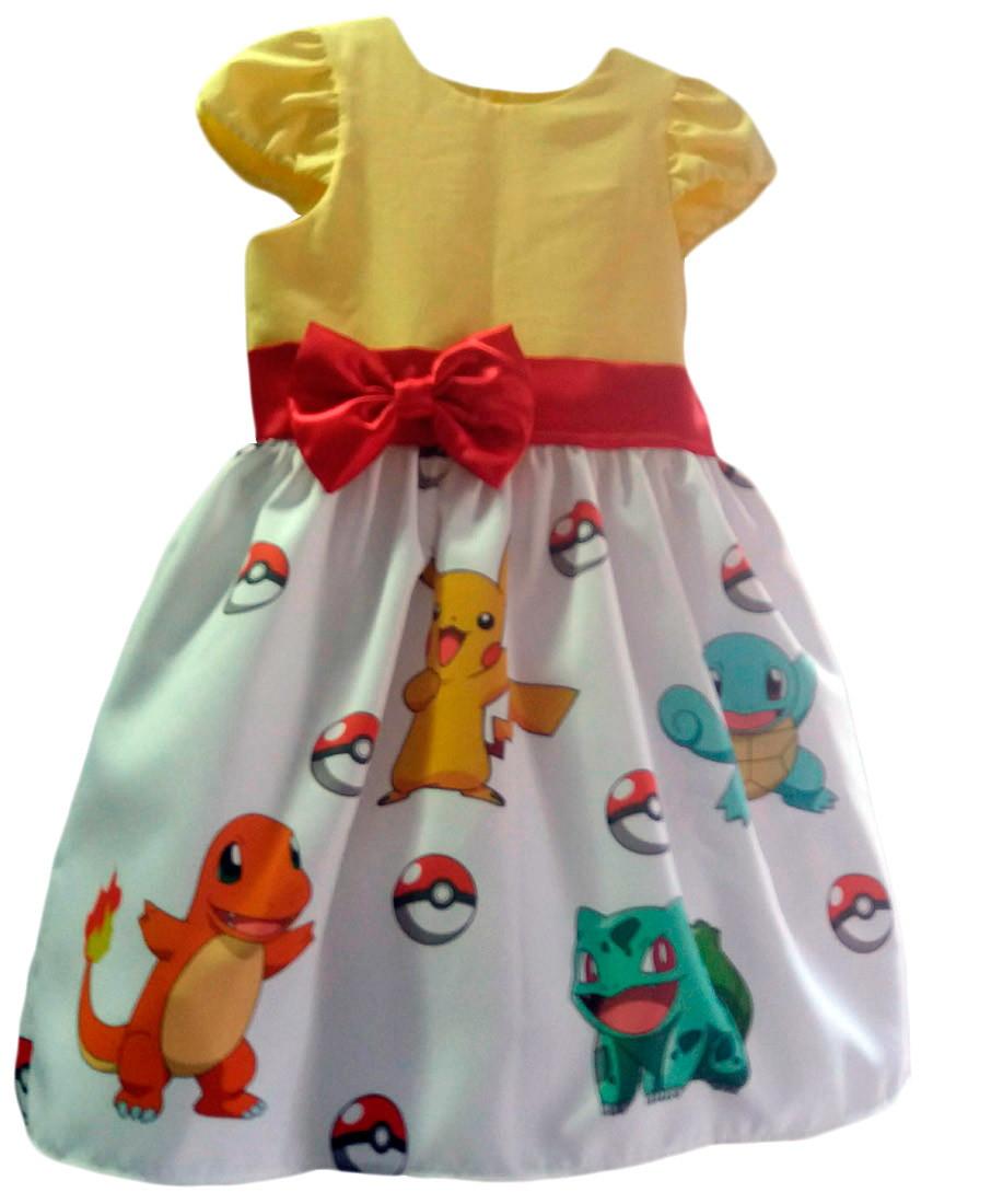 Infantil Tia Vestido Festa Pokemon Aniversário Gina Pikachu n8wNvOm0