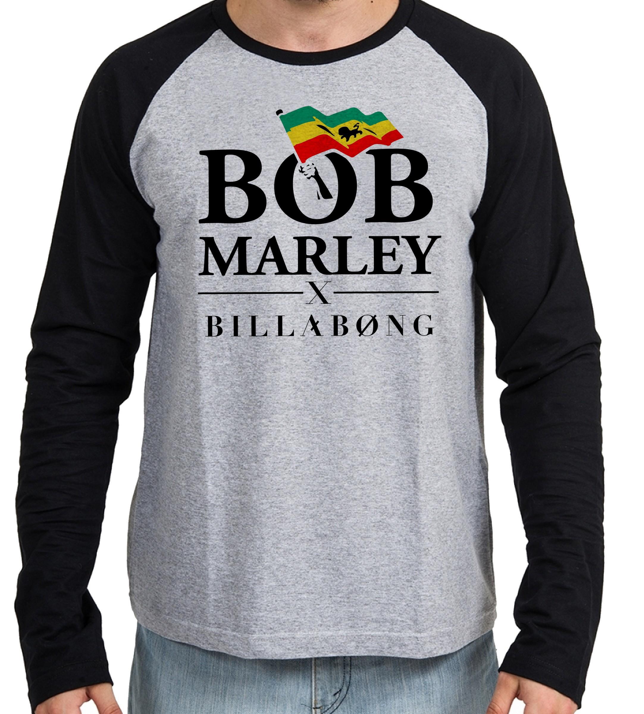 48fea1e255 Camiseta manga longa personalizada billabong bob marley no Elo7   Empório  Dutra (F67CED)