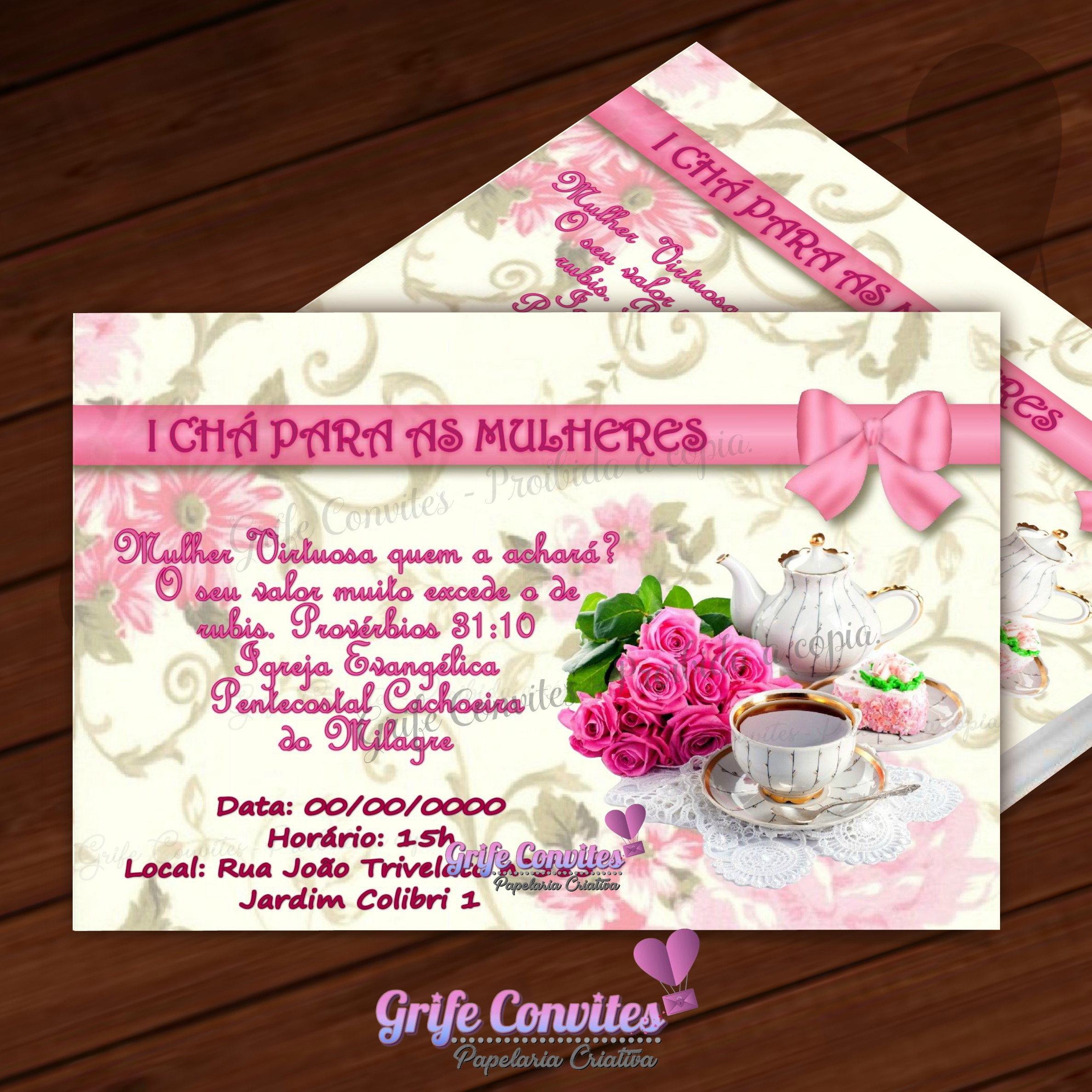 Convite Digital Cha Para Mulheres No Elo7 Grife Convites F7b859
