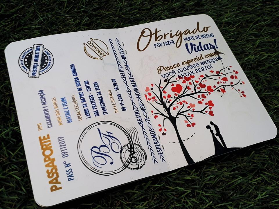 Convite Passaporte Azul - Personalizado - Rústico e moderno