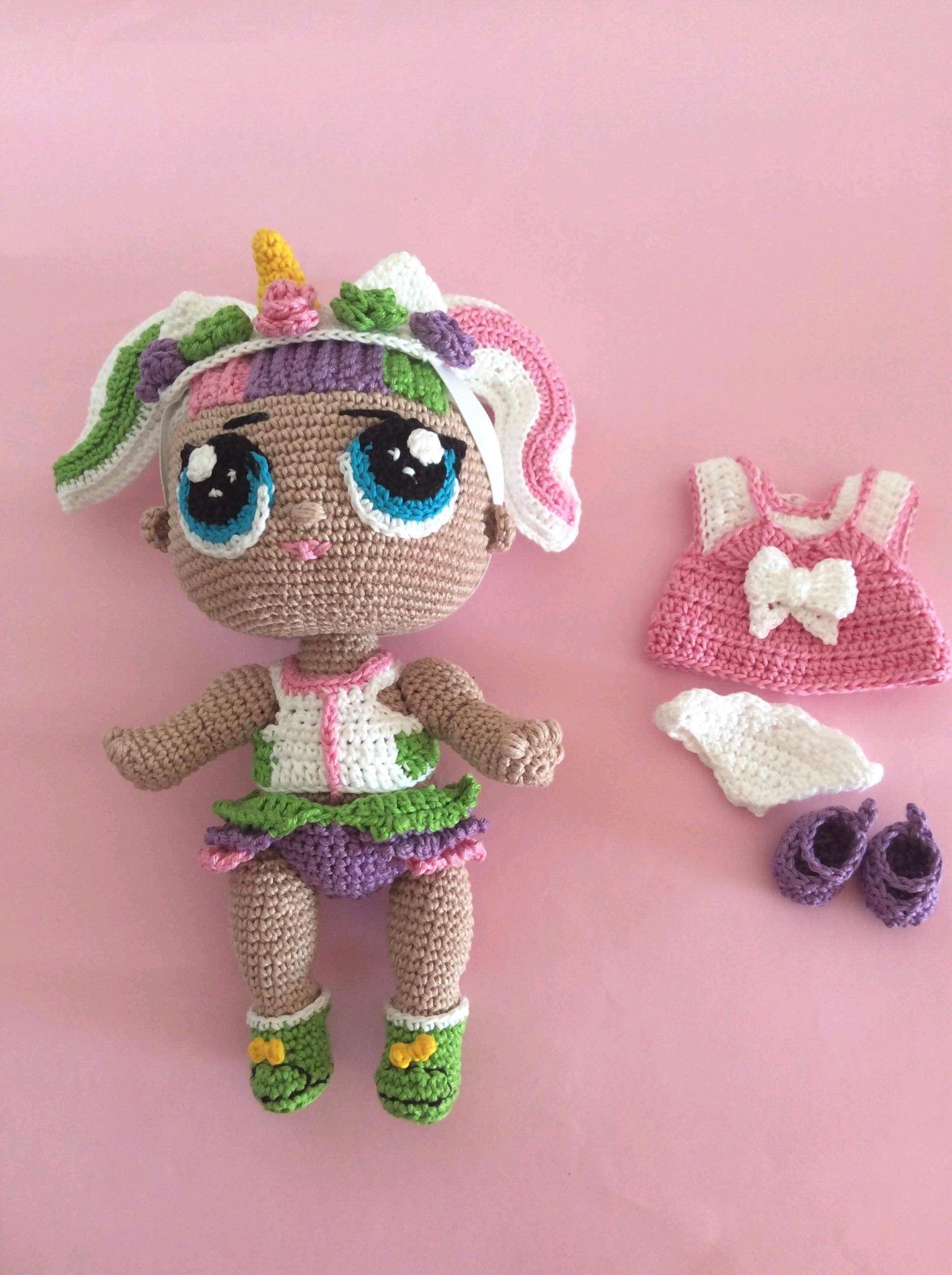 Técnica de crochet mide 35 cm. | Lol dolls, Crochet doll pattern ... | 2592x1936