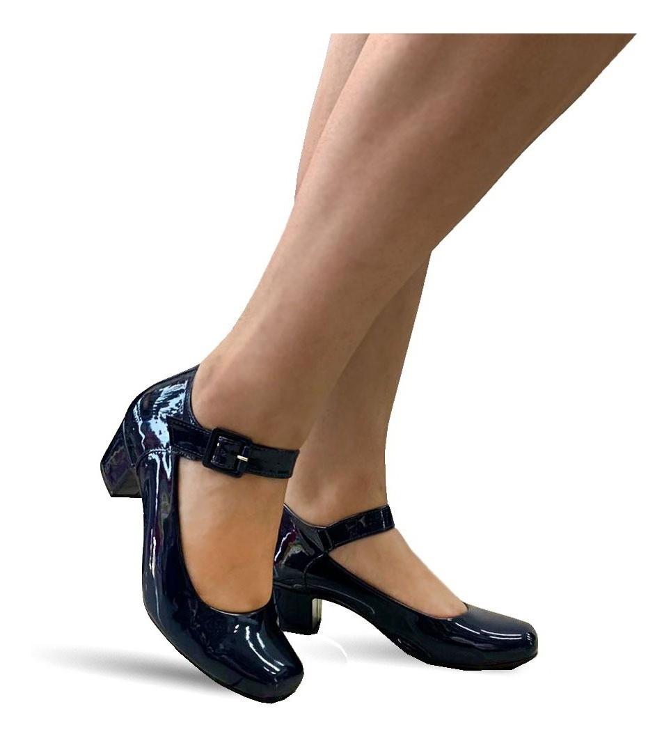 6fea17b70c Sapato Social Salto Baixo Grosso Feminino Confortavel 810 | Elo7