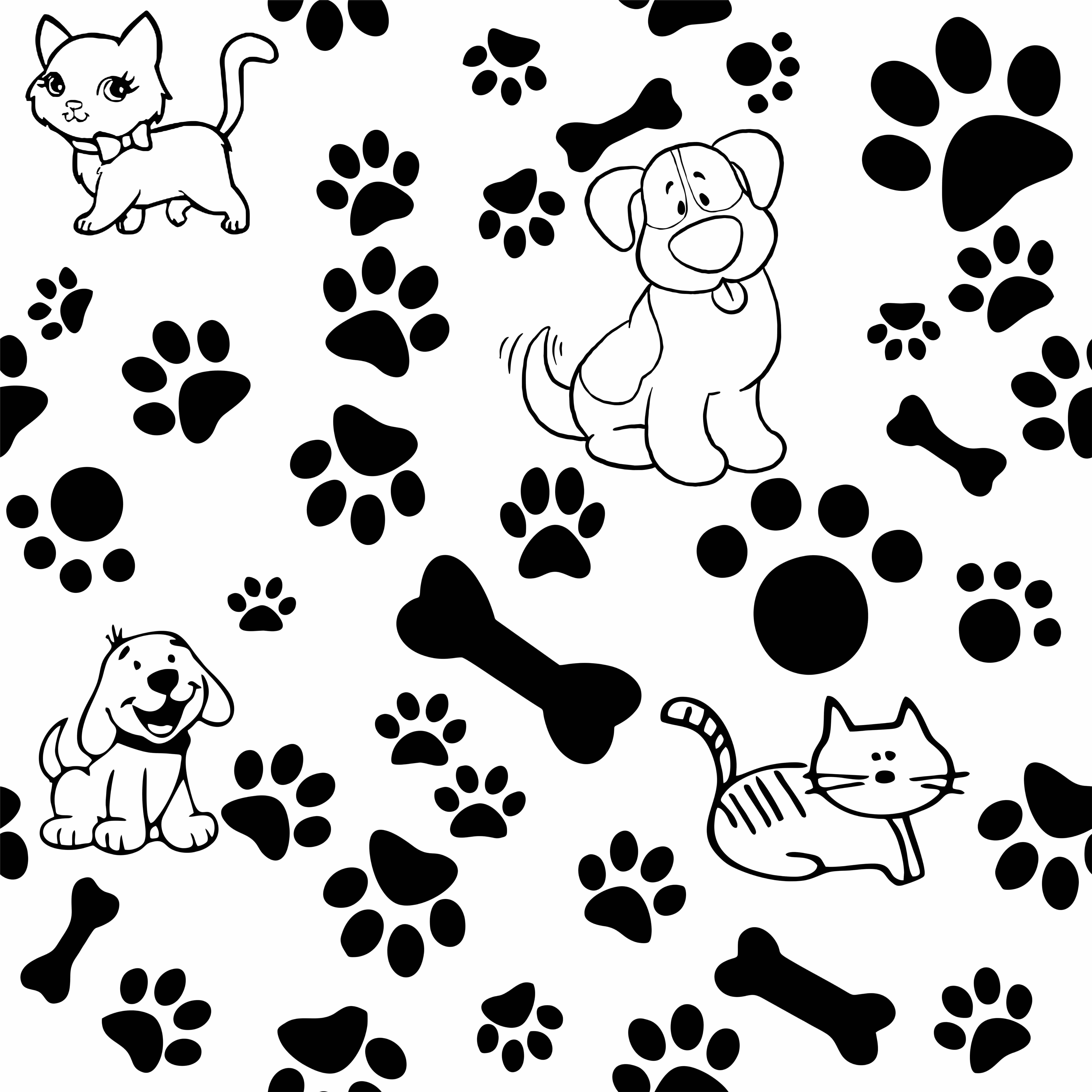 Papel De Parede Cachorros E Gatos Pet Patinhas Ossinhos No Elo7
