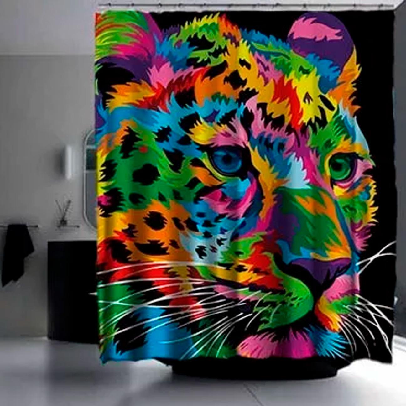 Cortina Box Banheiro Onca Pintada Manchas Colorido Pop Art No