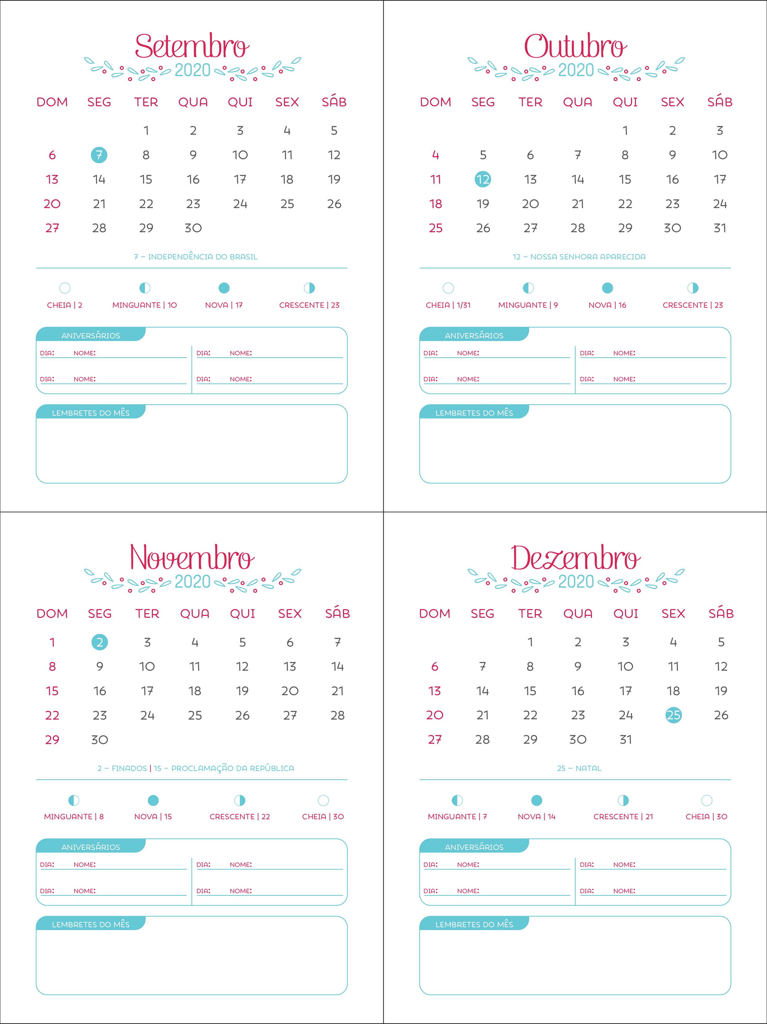 Calendario 2020 2020.Arquivo Digital Calendario 2020