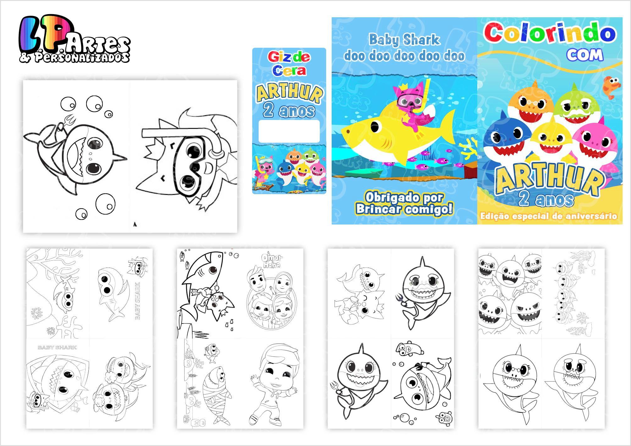 Kit Colorir Livrinho Giz De Cera Baby Shark No Elo7 Lp Artes