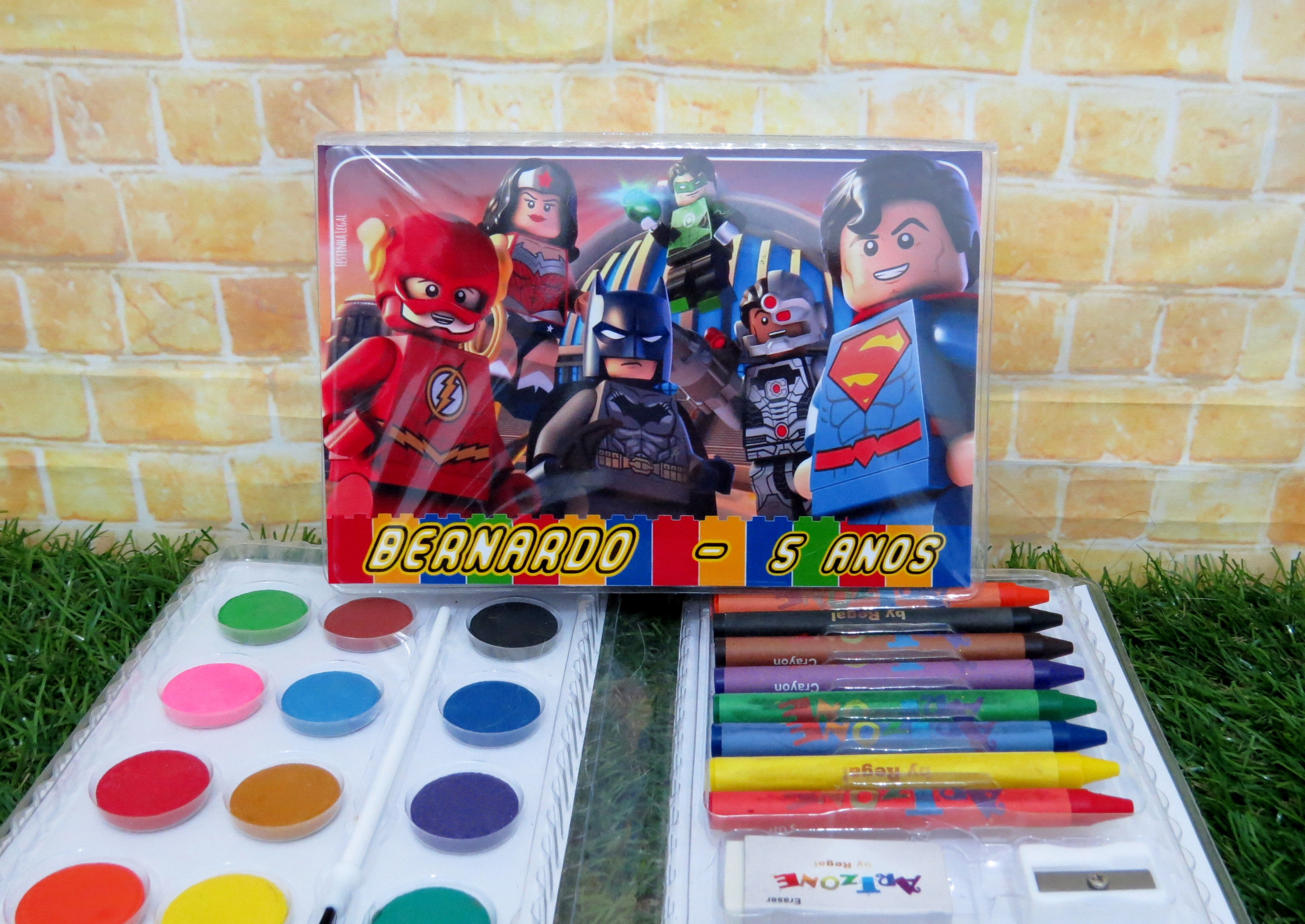 Maleta 31 Itens De Colorir Lego Liga Da Justica Kit Completo No