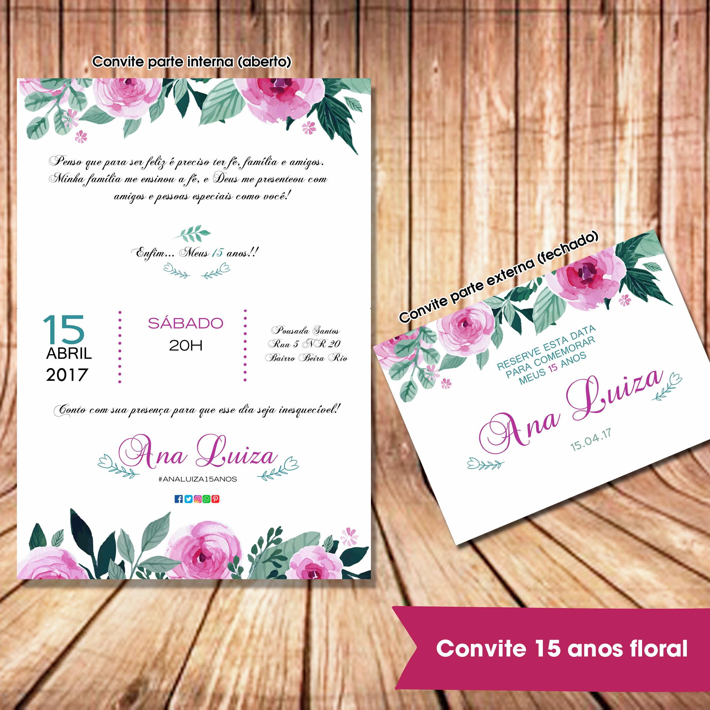 Convite 15 Anos Floral No Elo7 Loja Criativa Presentes