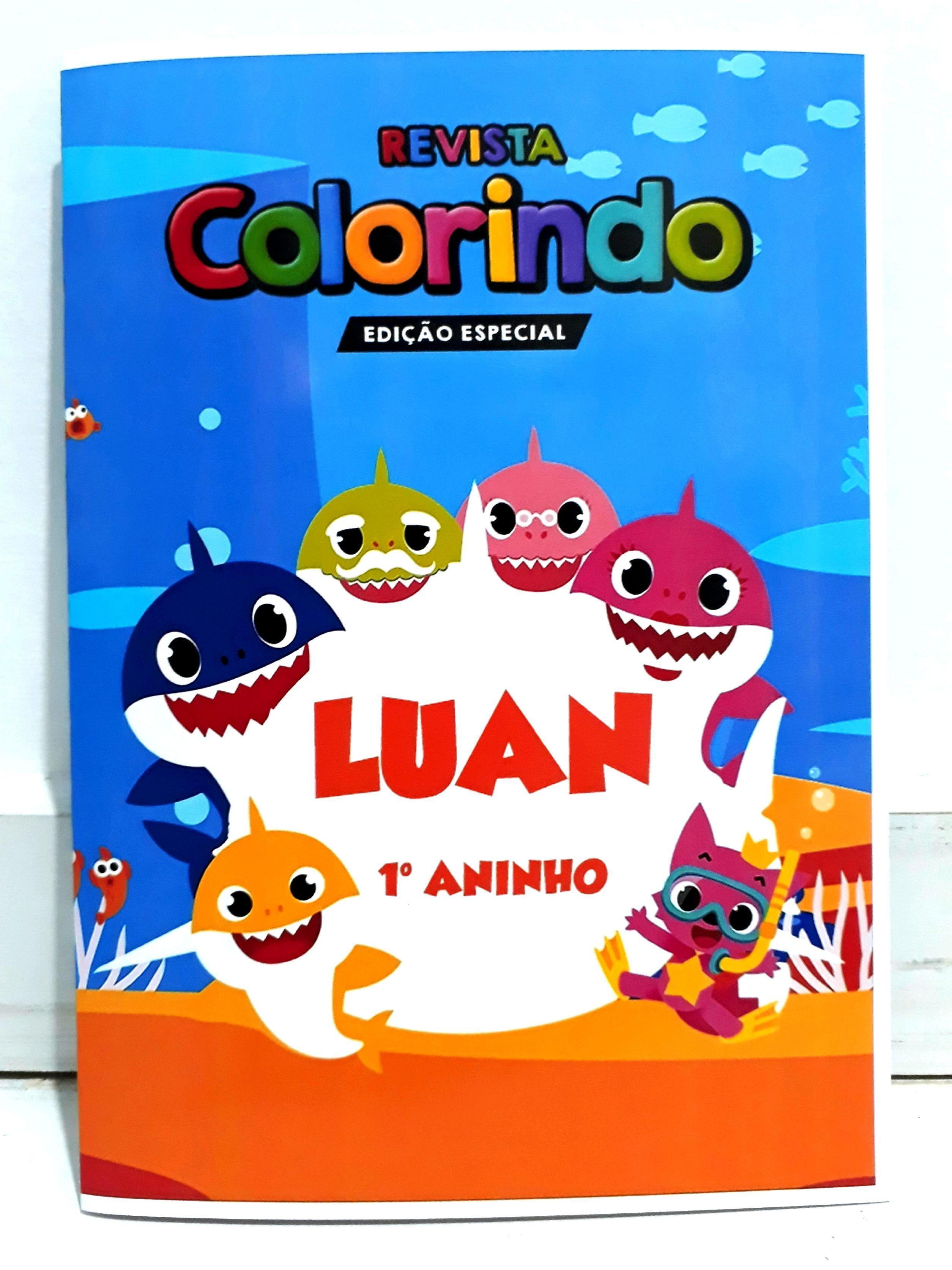 Livro Colorir Lembrancinha Personalizado Baby Shark Menino No Elo7