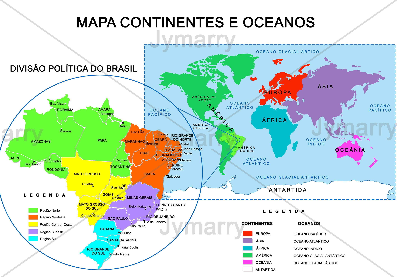 Banner Mapa Oceanos E Continentes 90x60cm Ilhos No Elo7 Jymarry