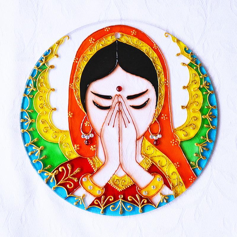 Mandala Namastê em Vidro no Elo7 | Bela Mandala (86B27E)