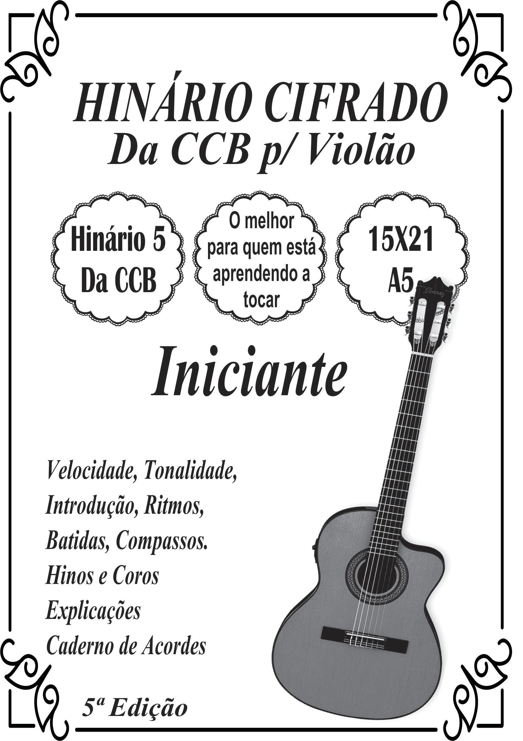 Hinos Cifrados Da Ccb P Violao A6 10x15 Facil Colorido No