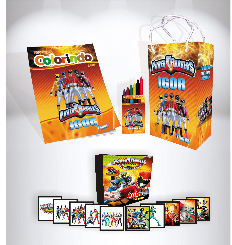 Kit Power Rangers Sacola Revista Giz Jogo Da Memoria No Elo7