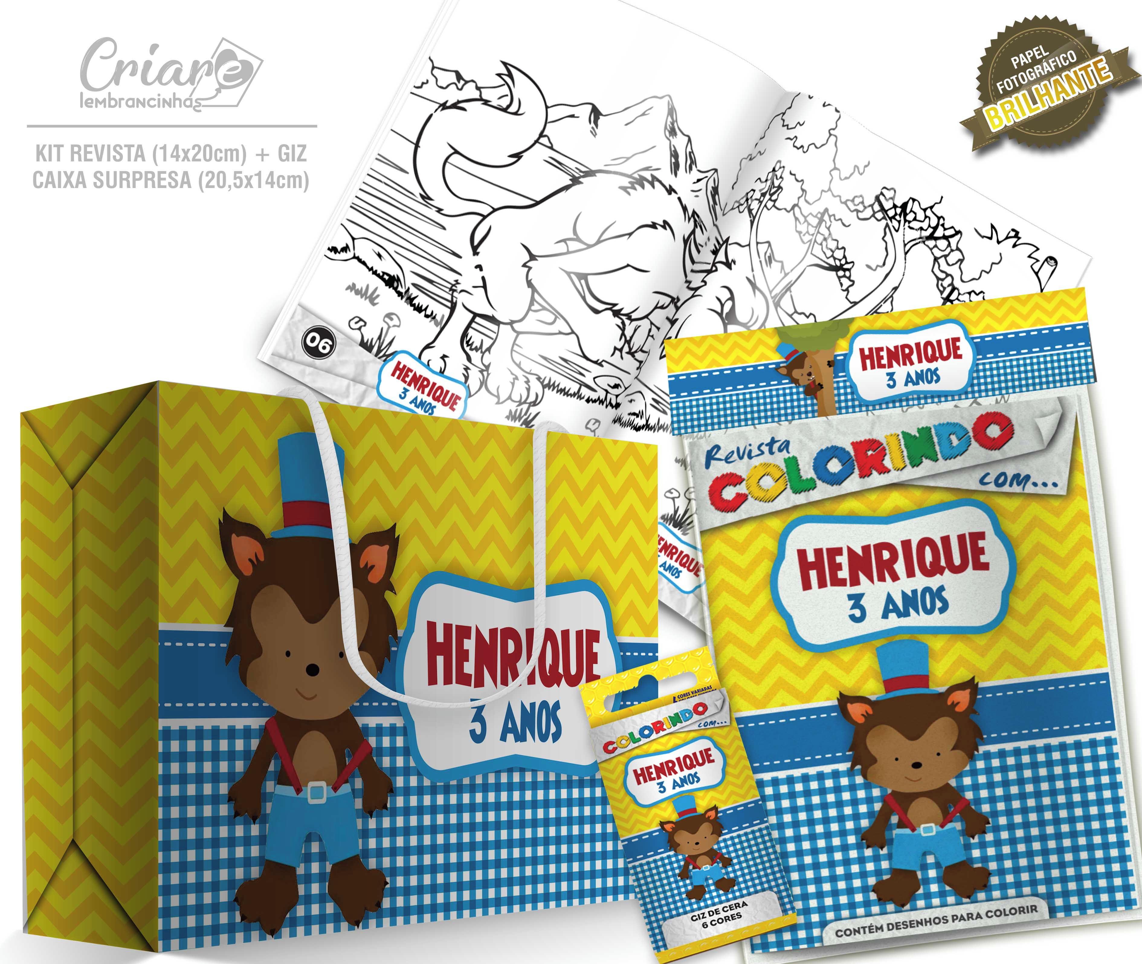Caixa Surpresa Kit De Colorir Lobo Mau No Elo7 Criare