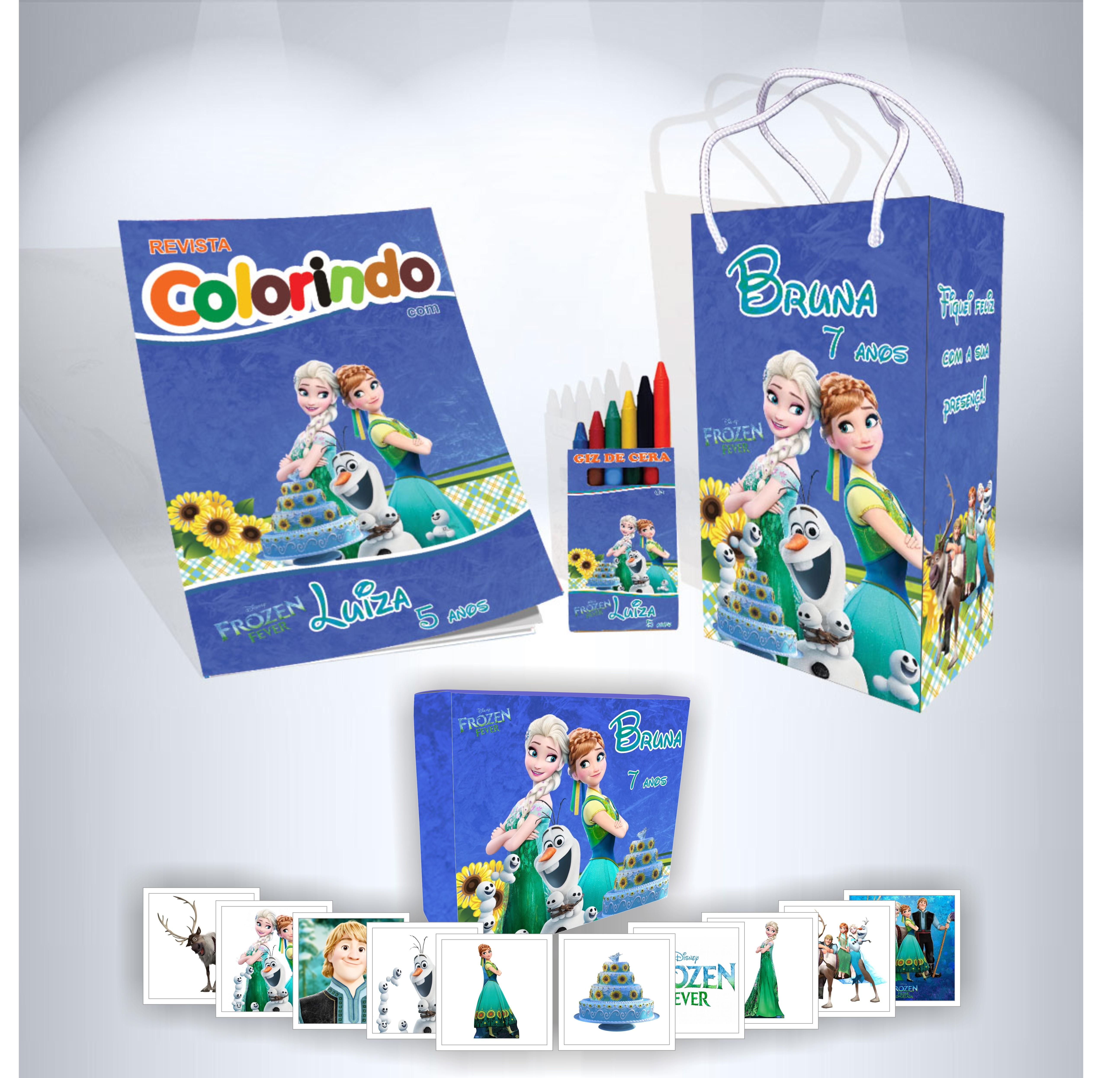 Kit Frozen Fever Sacola Revista Giz Jogo Da Memoria No Elo7 Alfa