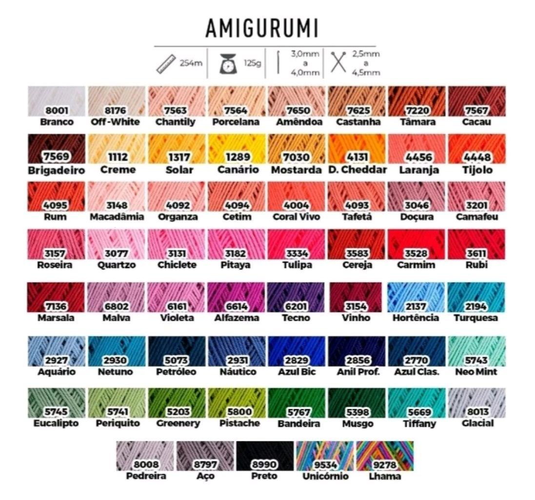 Fio Amigurumi da Círculo em 59 Cores, inclusive Mostarda e ... | 1024x1097