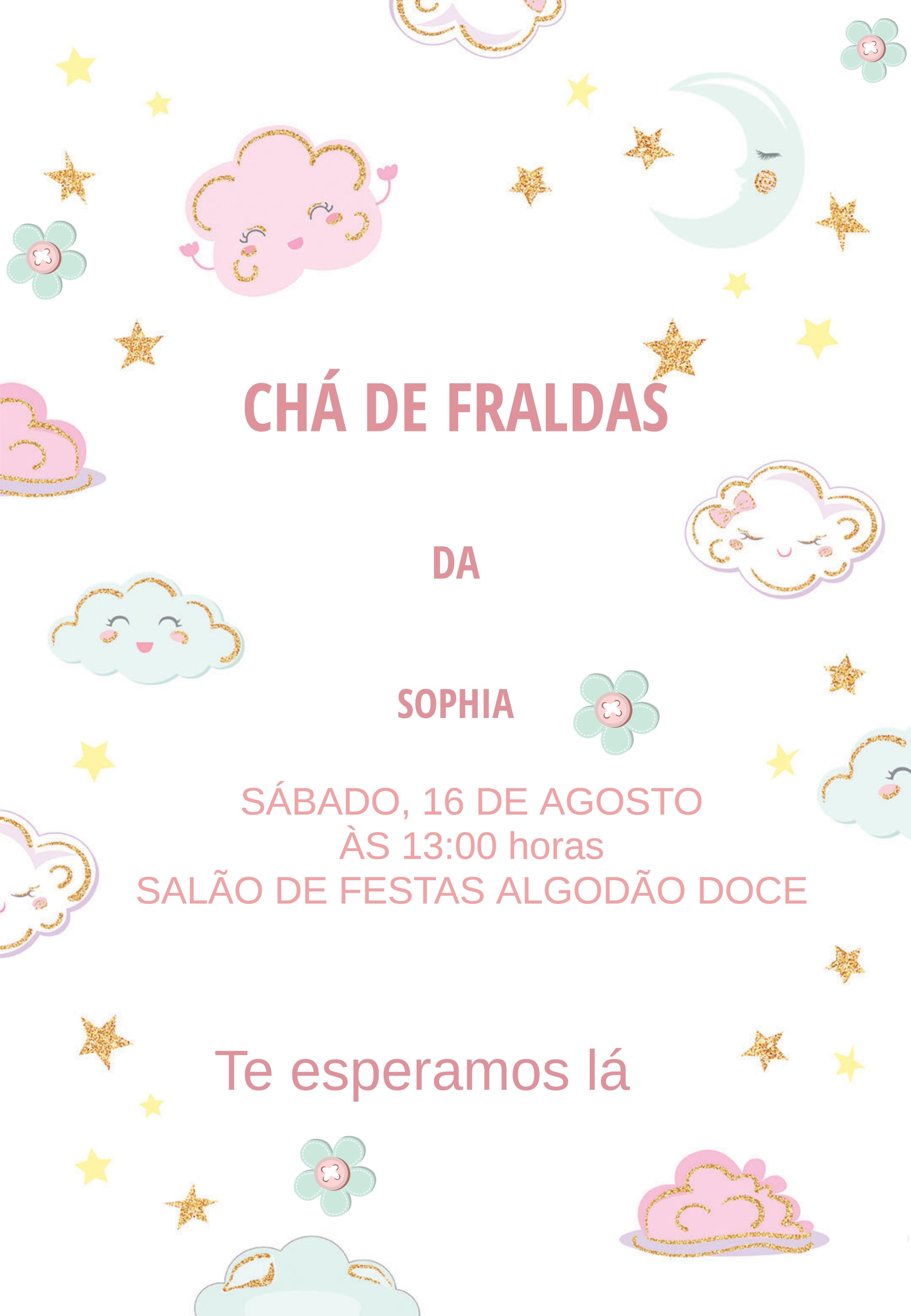 Convite Cha De Fraldas Digital Nuvem Do Amor So Imprimir No
