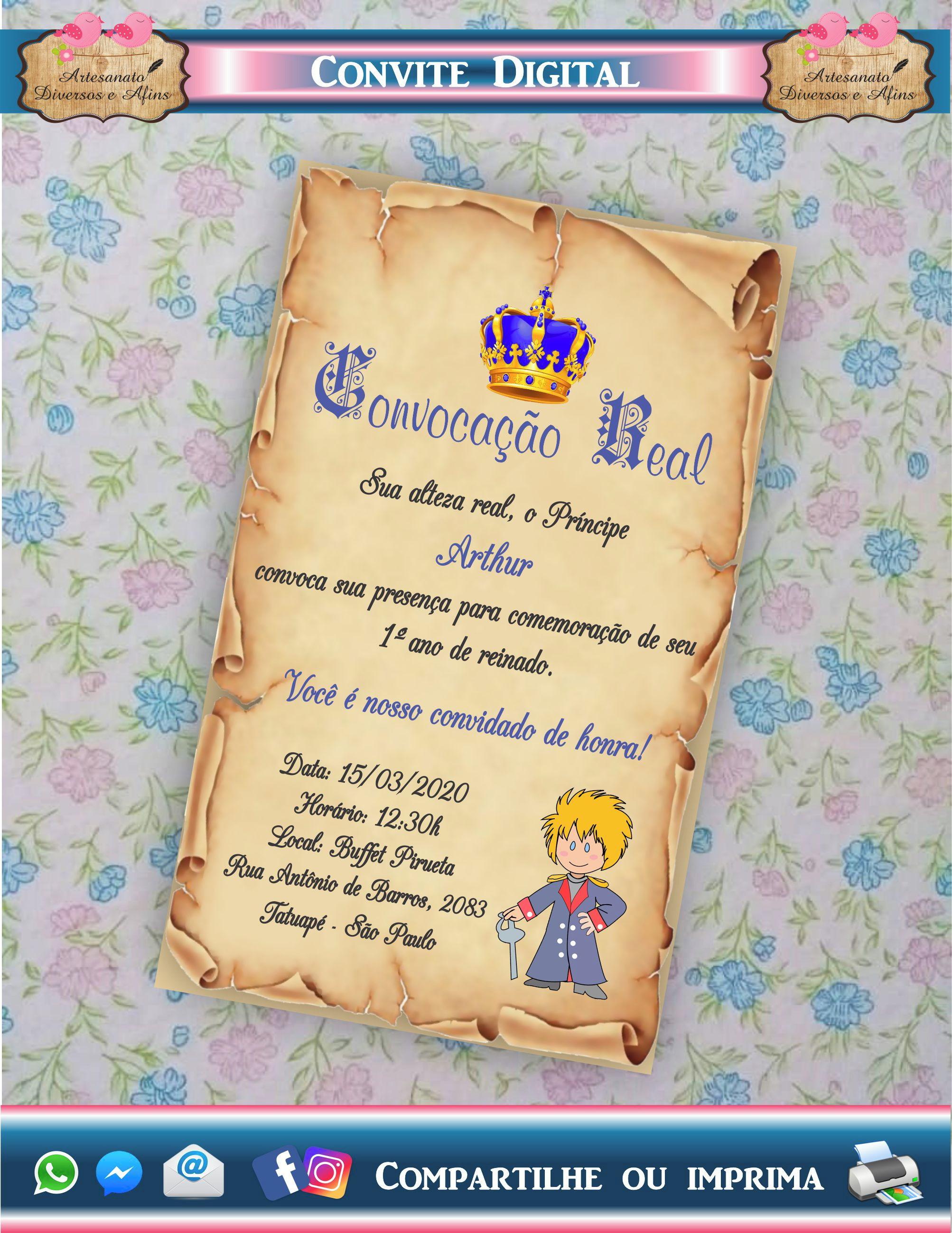 Convite Digital Aniversário Pergaminho Pequeno Príncipe no Elo7 |  Artesanato Diversos e Afins (11BF80B)