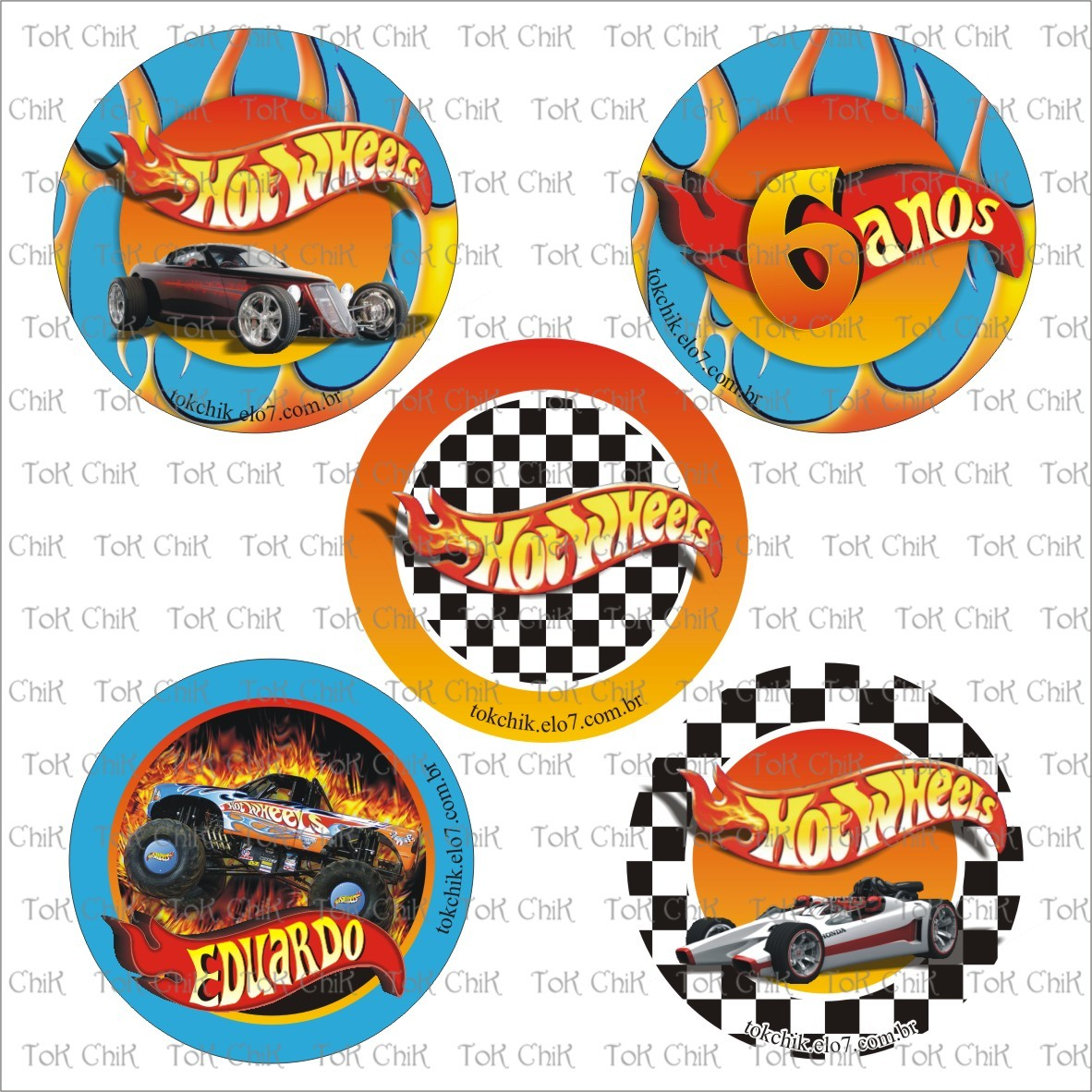 Cj 5 Toppers Hot Wheels Arte No Elo7 Tok Chik 28b652