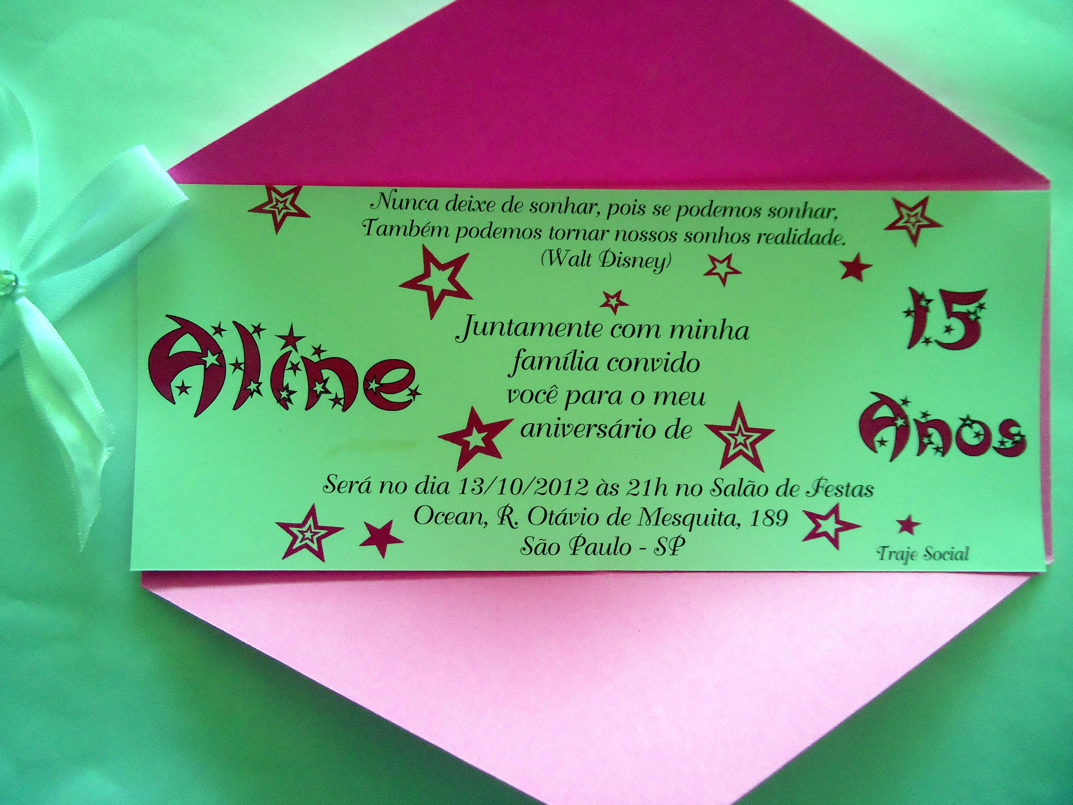 Convite De Aniversario De 15 Anos: Convite De 15 Anos/aniversário-Cód.1068