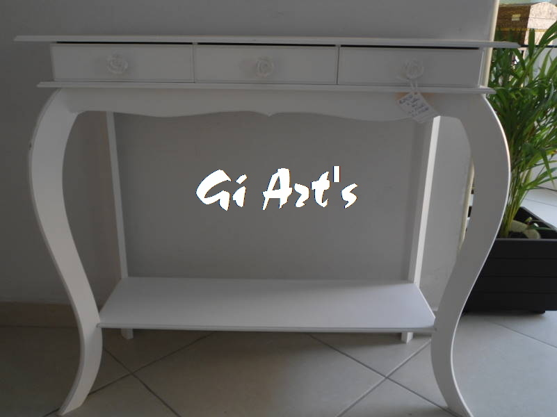 Artesanato Brasileiro ~ Aparador com 3 gavetas Branco Gi Art s Ateli u00ea by Ivani Elo7