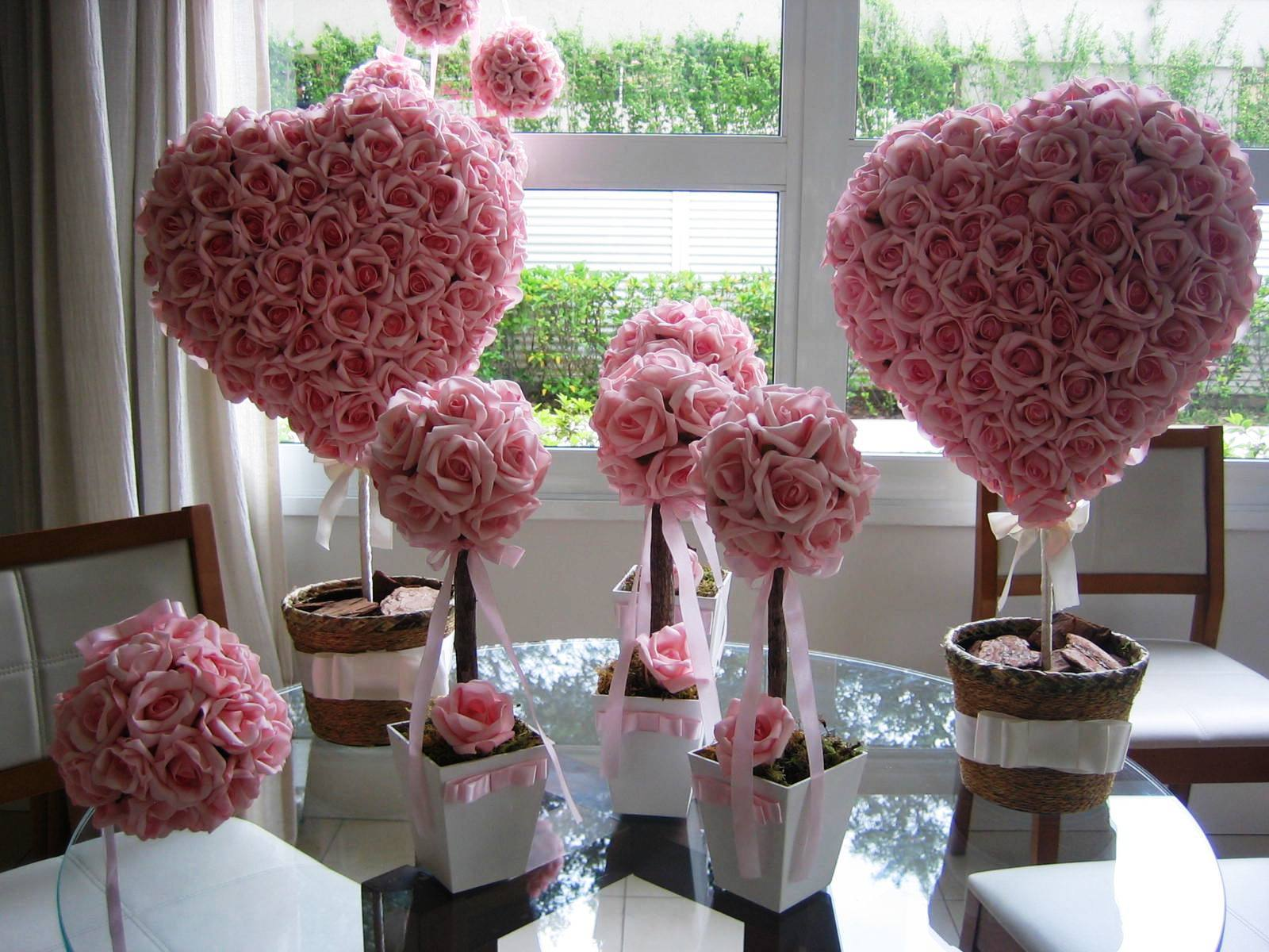 Kit decoraç u00e3o rosa para festas V Rosamorena Artes Florais Elo7 # Decoração De Flores Festa