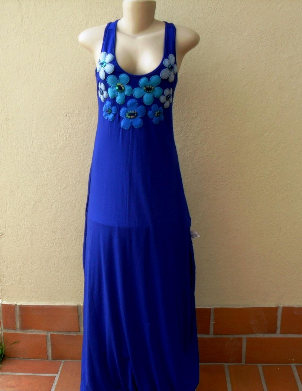 Vestido longo azul royal malha