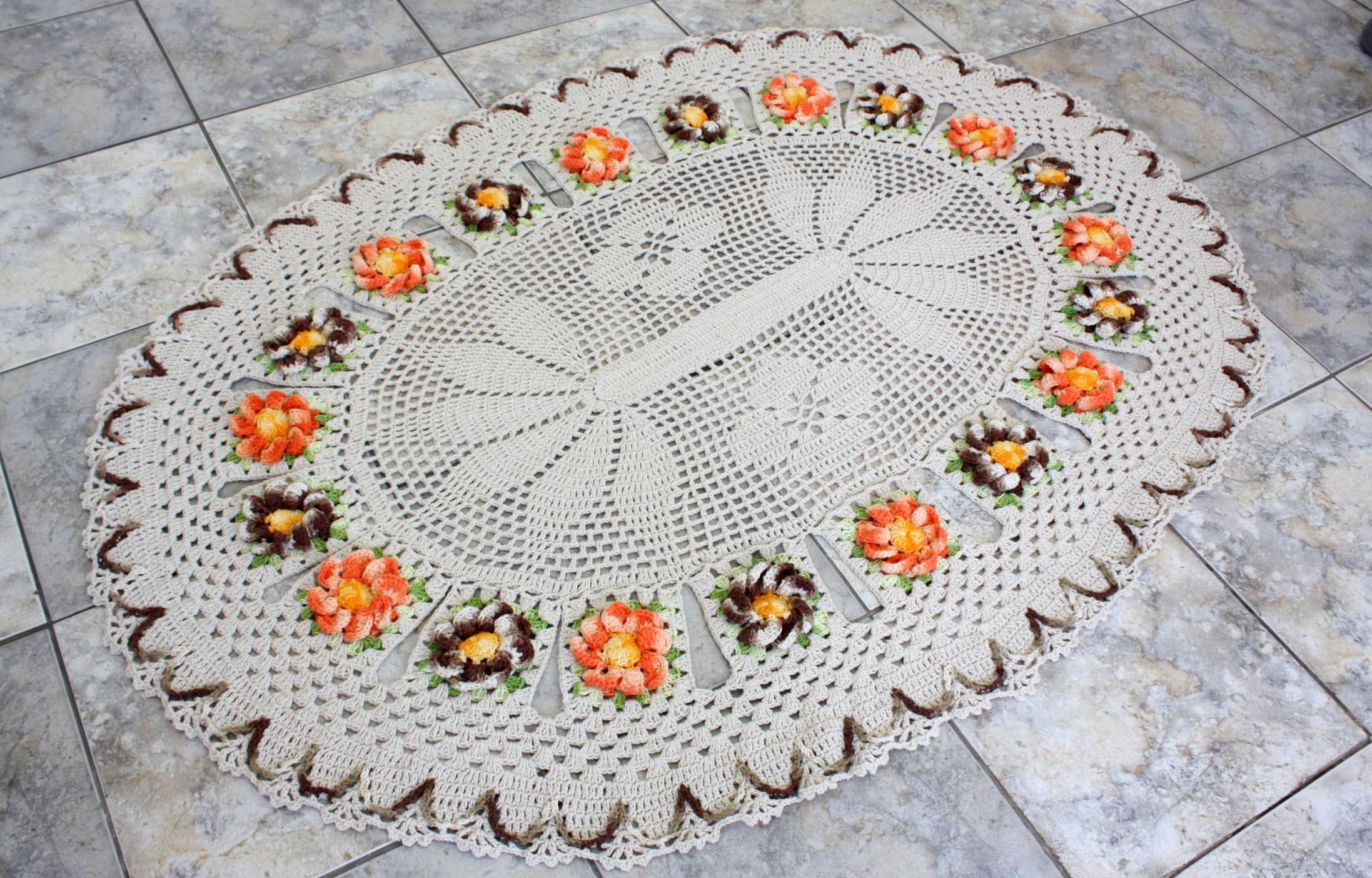 Tapete Oval De Cr ~ Tapete oval com flores manaca Patricia crochetando Elo7