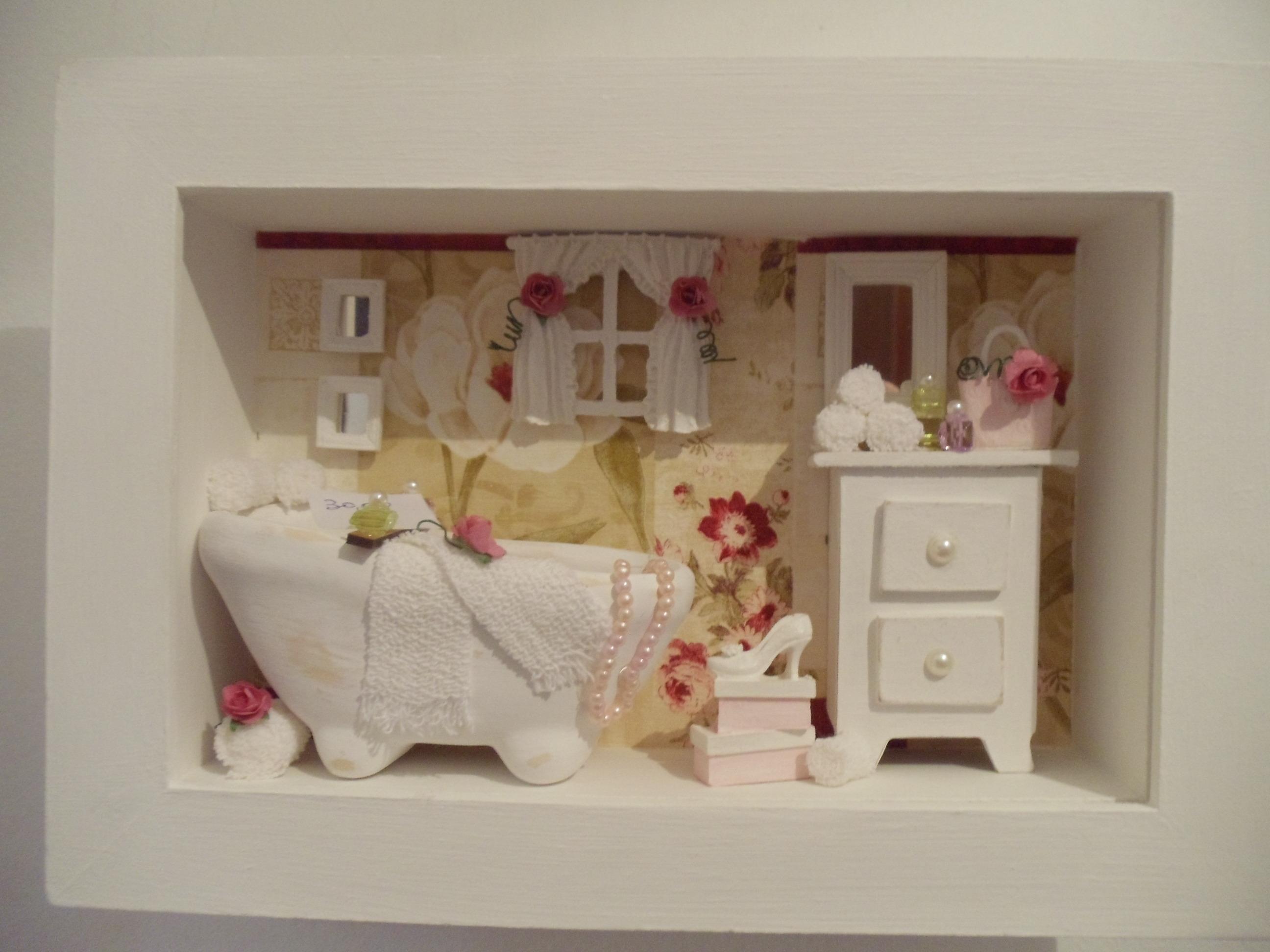 Quadro Decorativo Banheiro Chic Ateliê da Dinda Elo7 #46251C 2592x1944 Banheiro Da Barbie Para Comprar