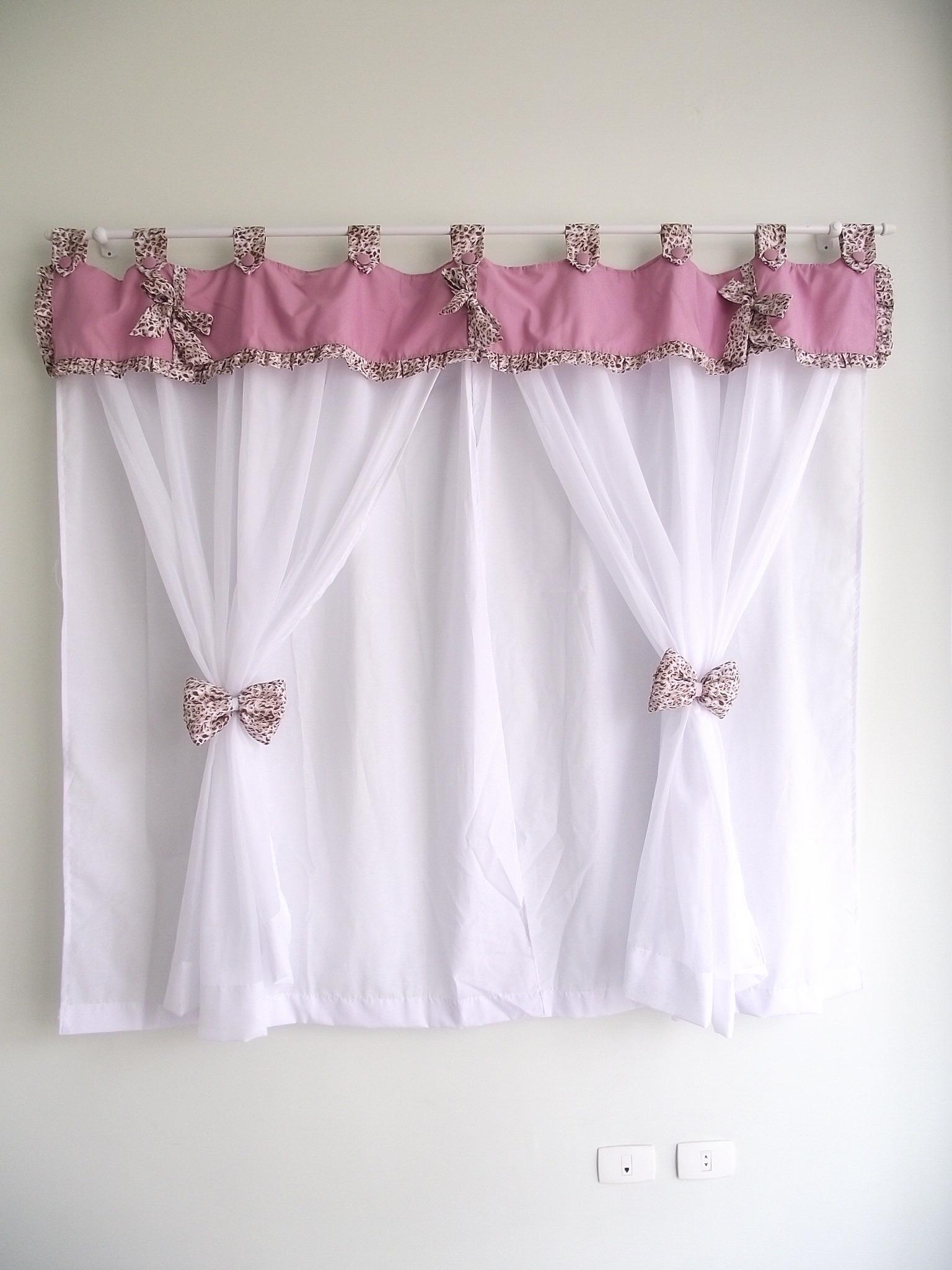 Cortina la o de fita ros on a natural sonho de beb - Modelos de cortinas infantiles ...