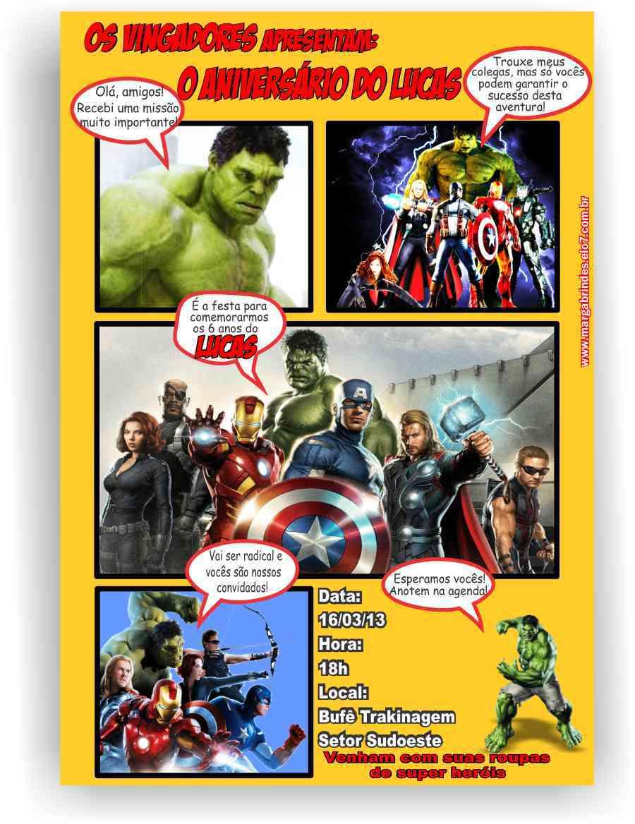 Vingadores Hulk Convite Gibi No Elo7 Marga Personalizados 2c7f83