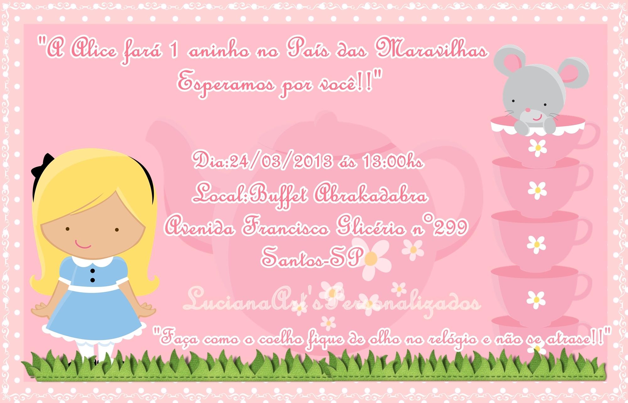 Convite Alice No Pais Das Maravilhas 10x15 Elo7