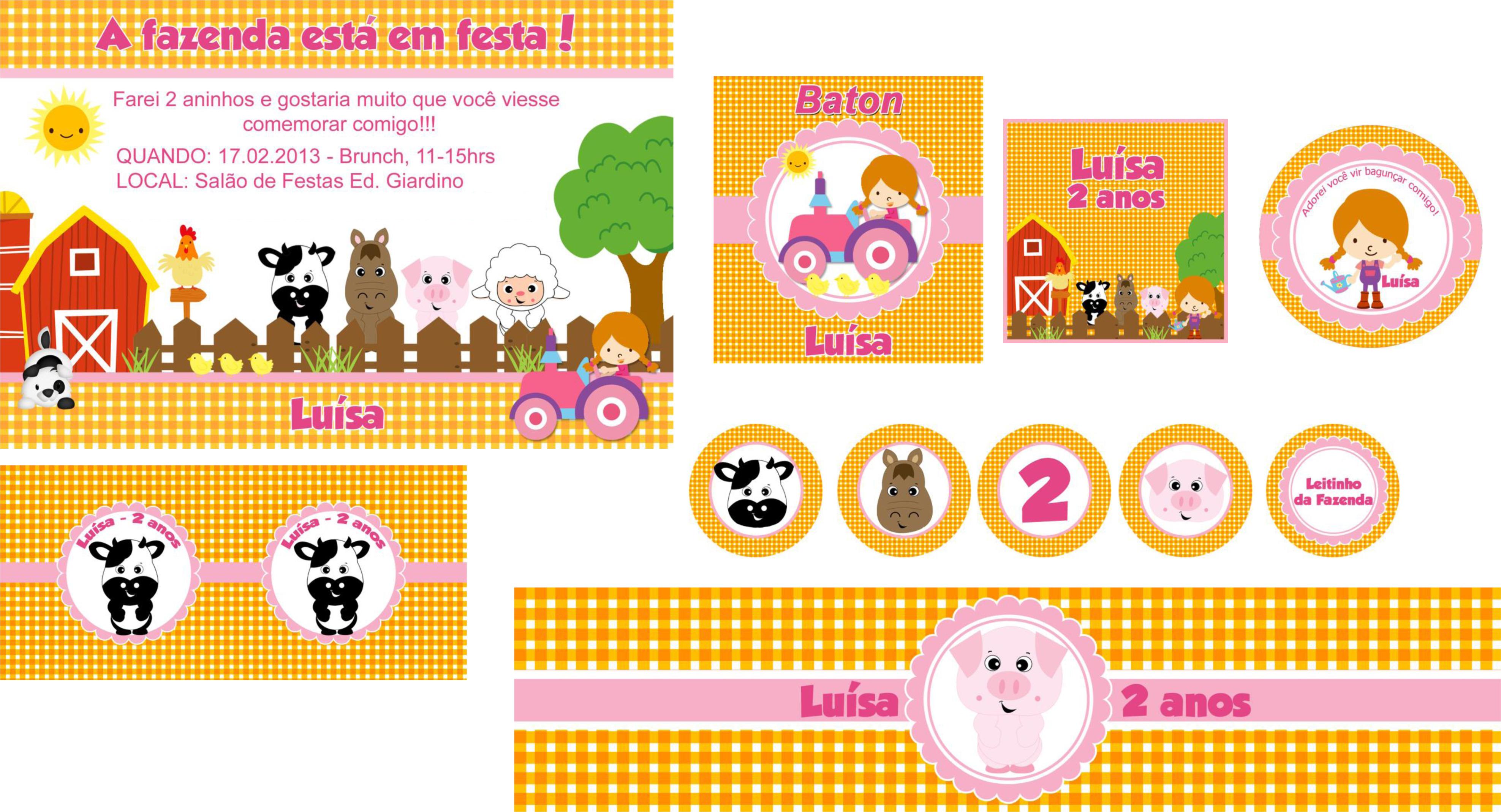 Well-known Kit Digital Fazendinha Menina | Elo7 JW05