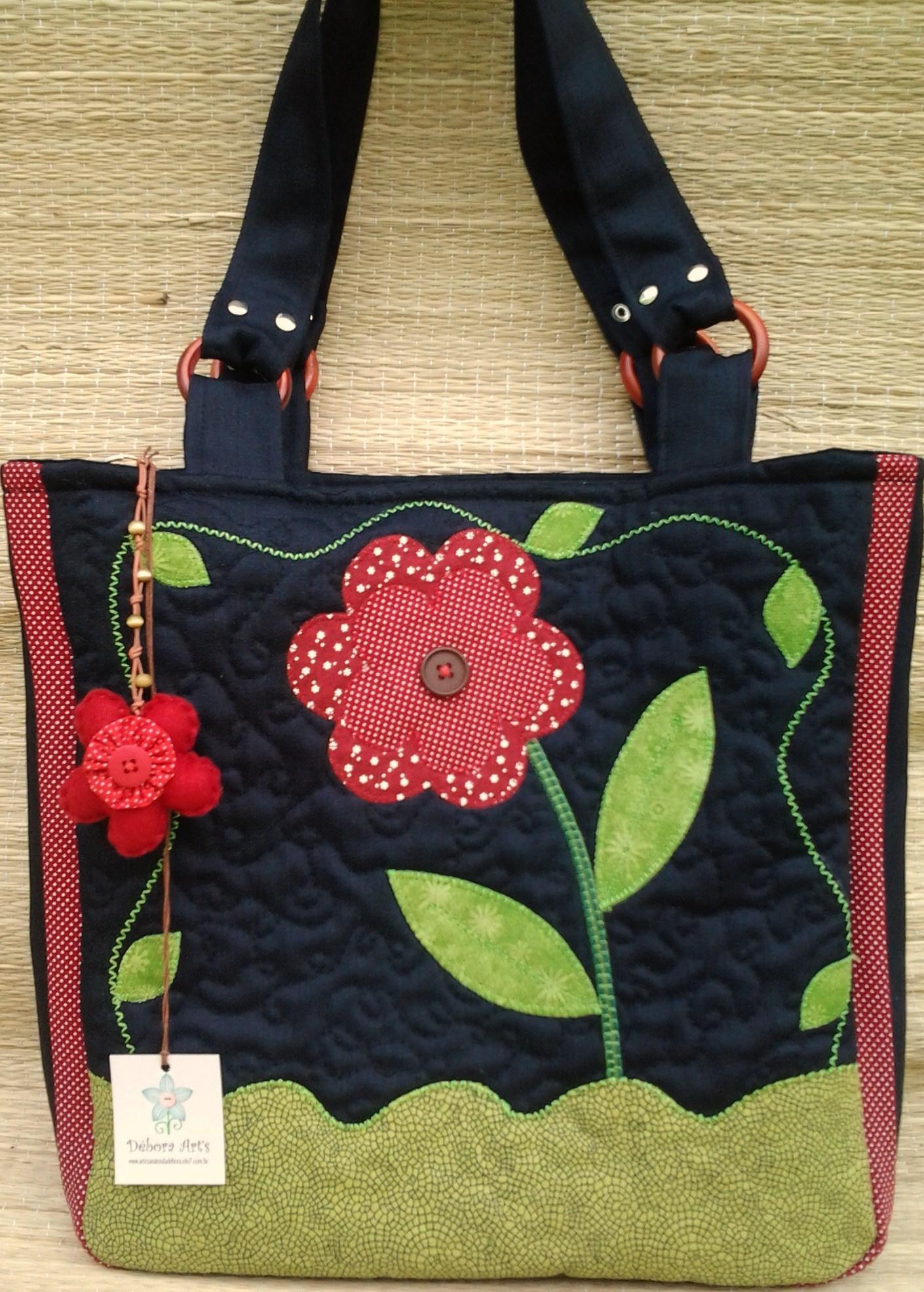 c3ca7a4ae Bolsa Jeans Flor Vermelha no Elo7 | Débora Art's (2F6C33)