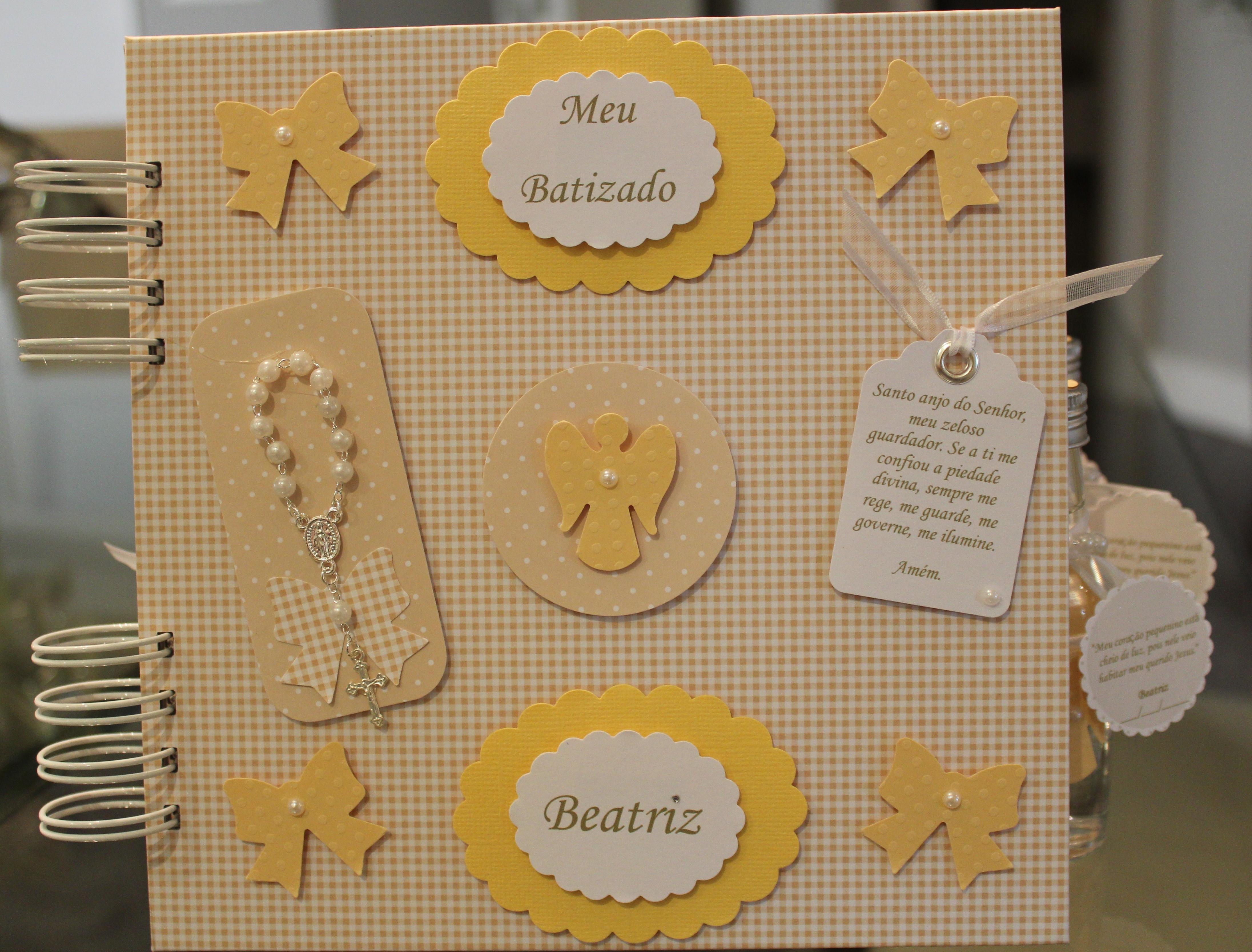 Lbum de batizado personalizado amarelo sweet scrapbook - Album de fotos personalizado ...
