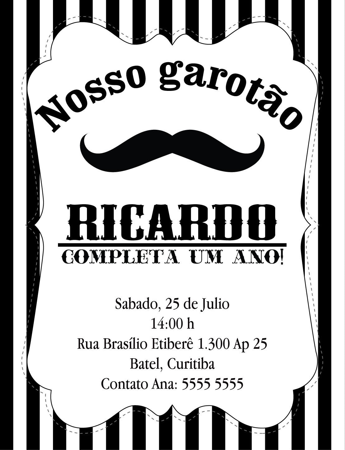 Excepcional Convite Mustache Bigode Baby no Elo7 | Bolle Blu Party - Itália  YQ66