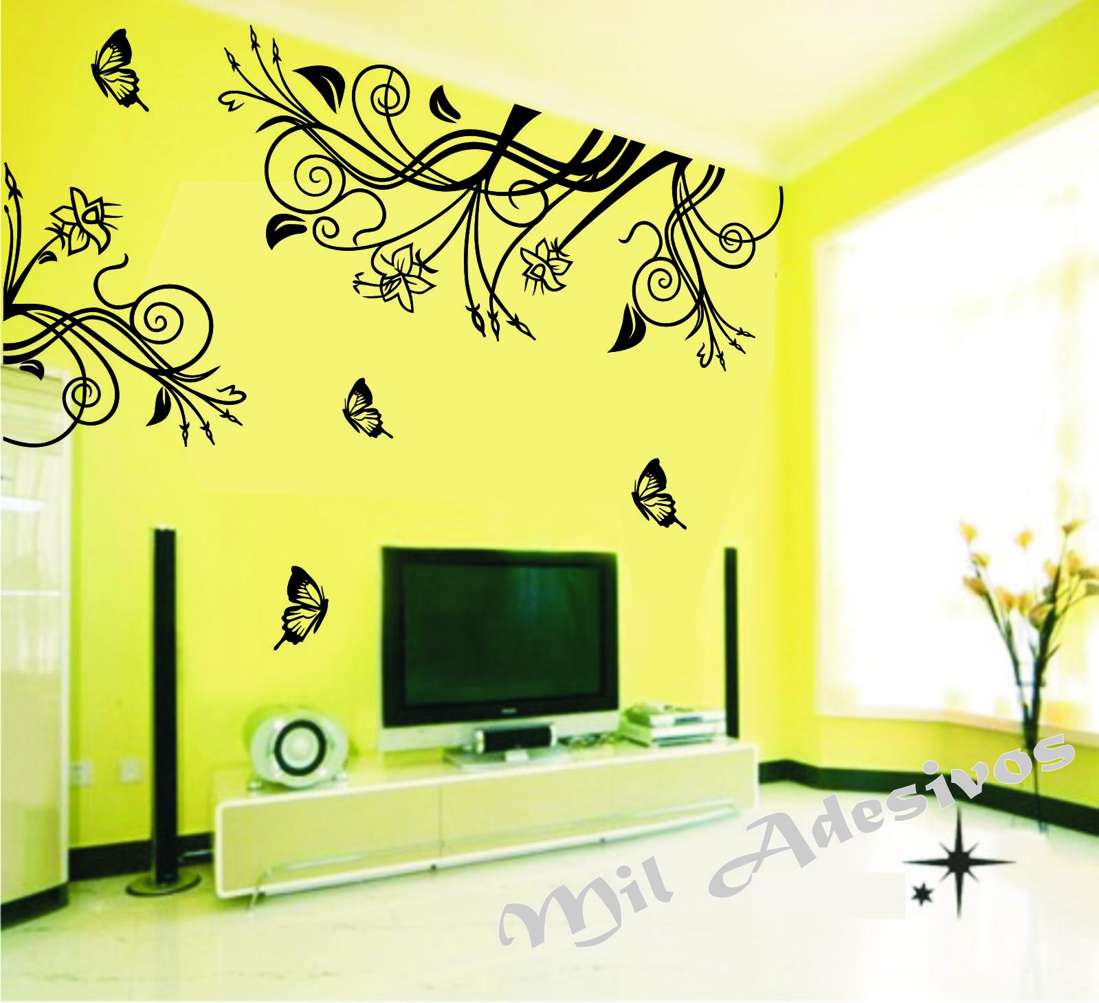 Decora O De Sala De Tv Com Galho Arabesco Super Grande No Elo7  -> Adesivo Decorativo Na Parede De Tv