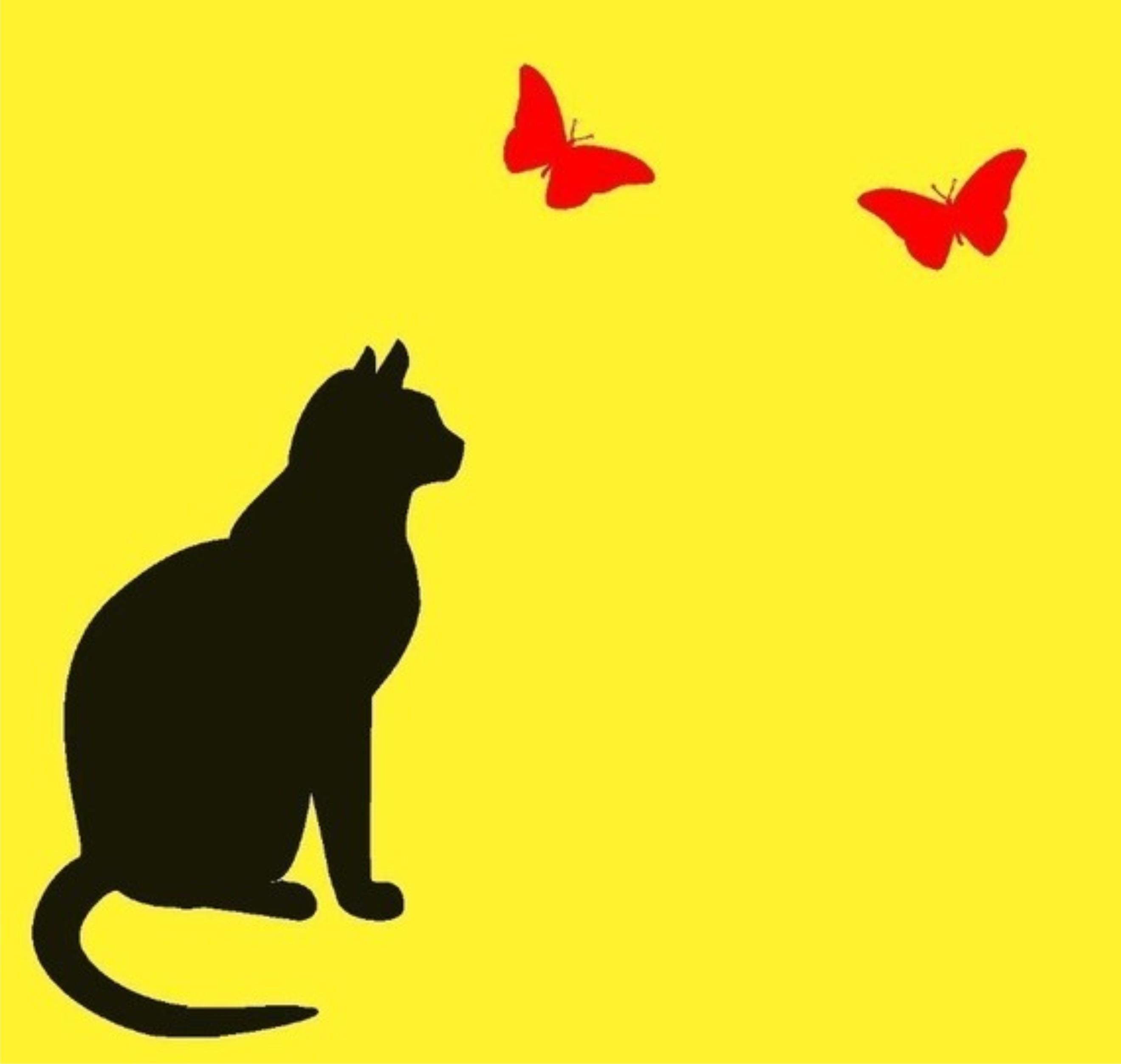 Aparador Para Hall ~ Adesivo decoraç u00e3o parede gato borboletas Adesivos de