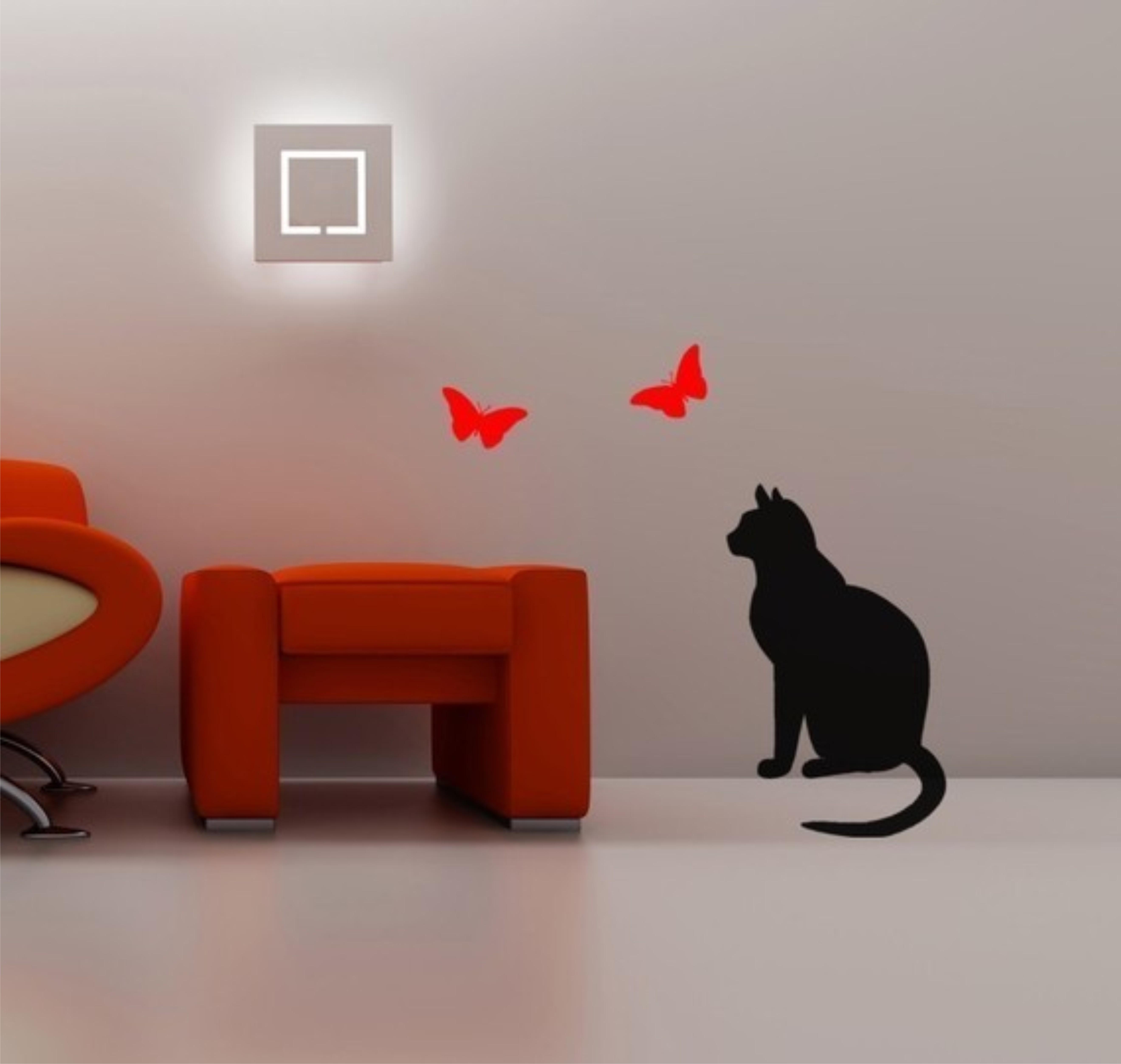 Adesivo Decorativo Para Vidro ~ Adesivo decoraç u00e3o parede gato borboletas Adesivos de Parede Frete GRÁTIS Elo7