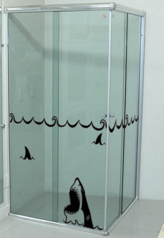 adesivo para box banheiro tubarao adesivo adesivo para box banheiro  #5D6C6E 2129x3085 Adesivo Blindex Banheiro